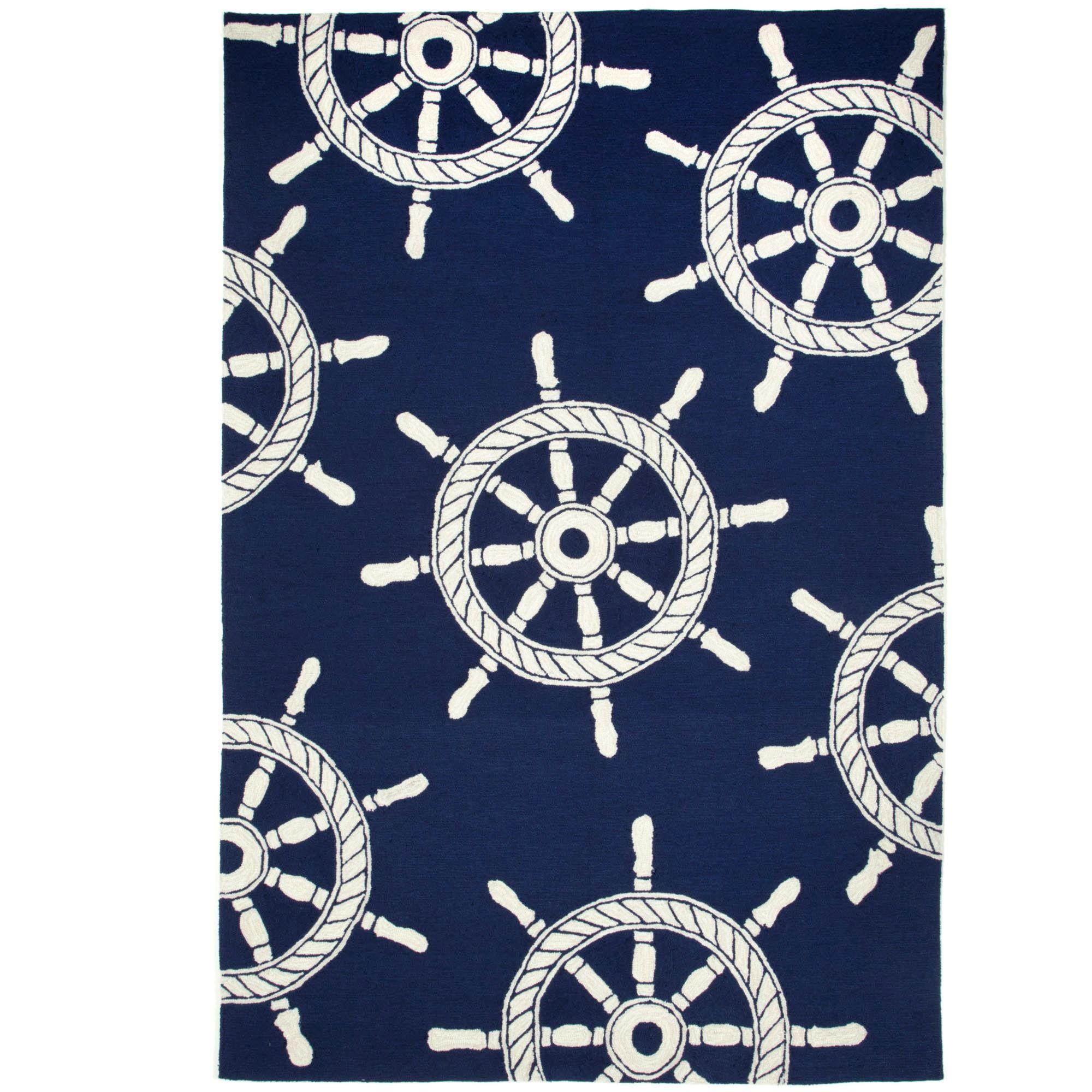 navy outdoor rug. Ship Wheel Rectangle Rug Navy 5 X 76 Outdoor \