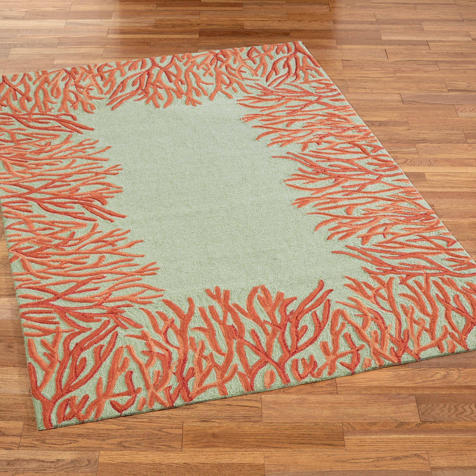 Orange Coral Reef Indoor Outdoor Area Rugs