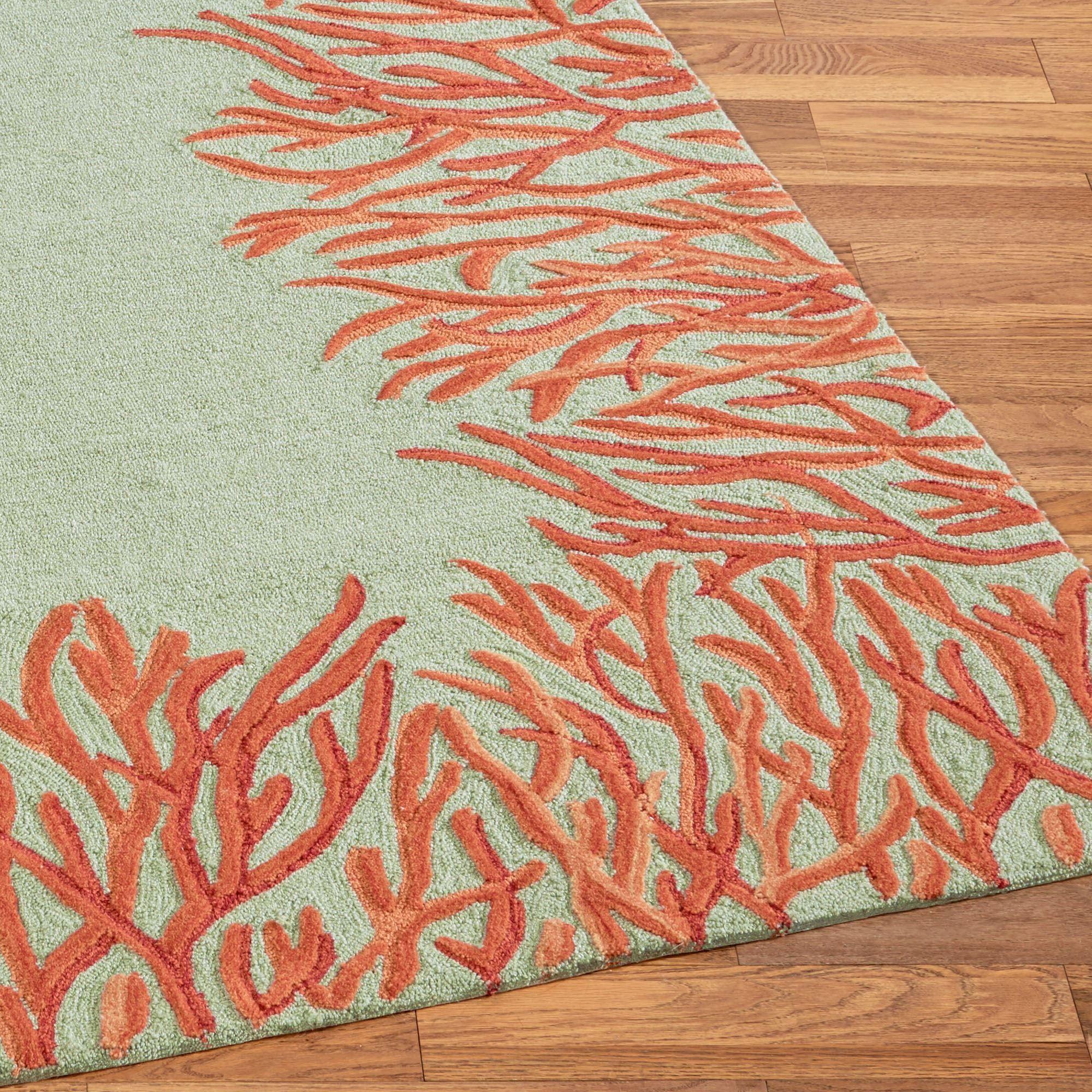 Orange Coral Reef Indoor Outdoor Area Rugs