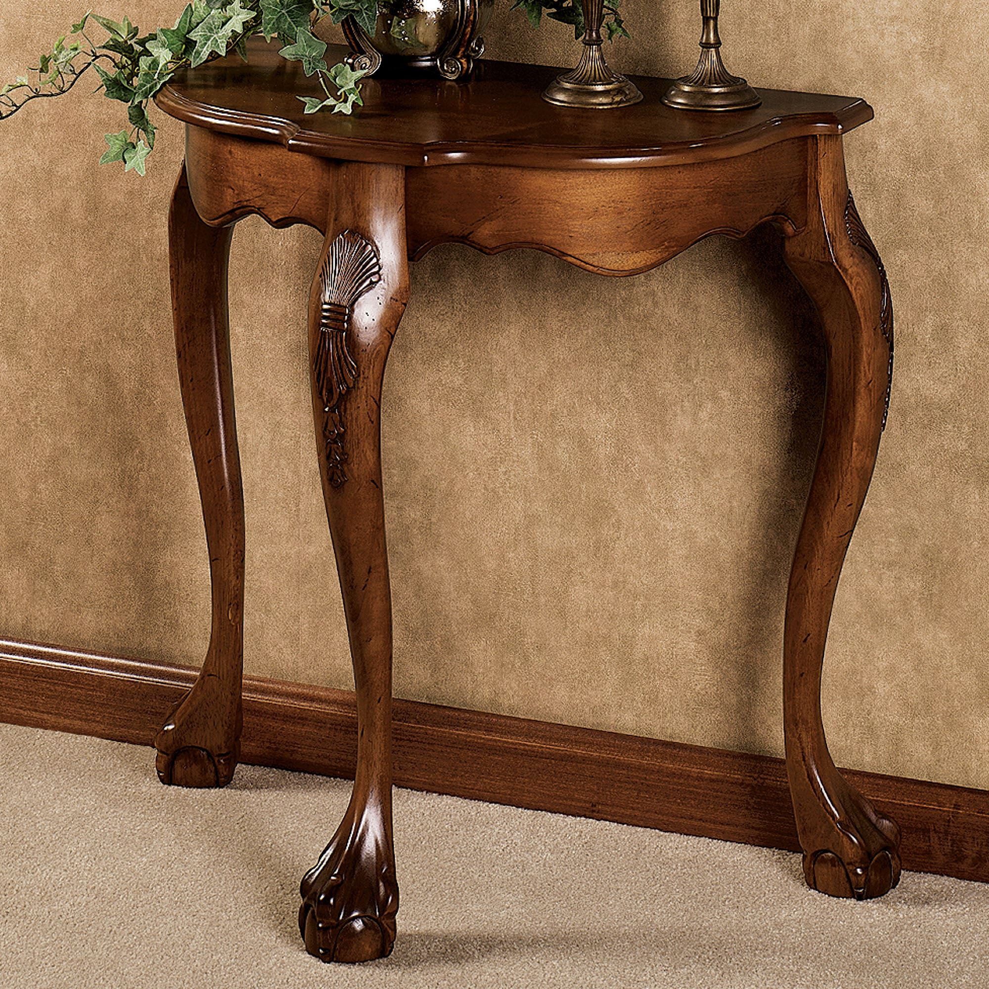 Genial Raphael Console Table Antique Walnut