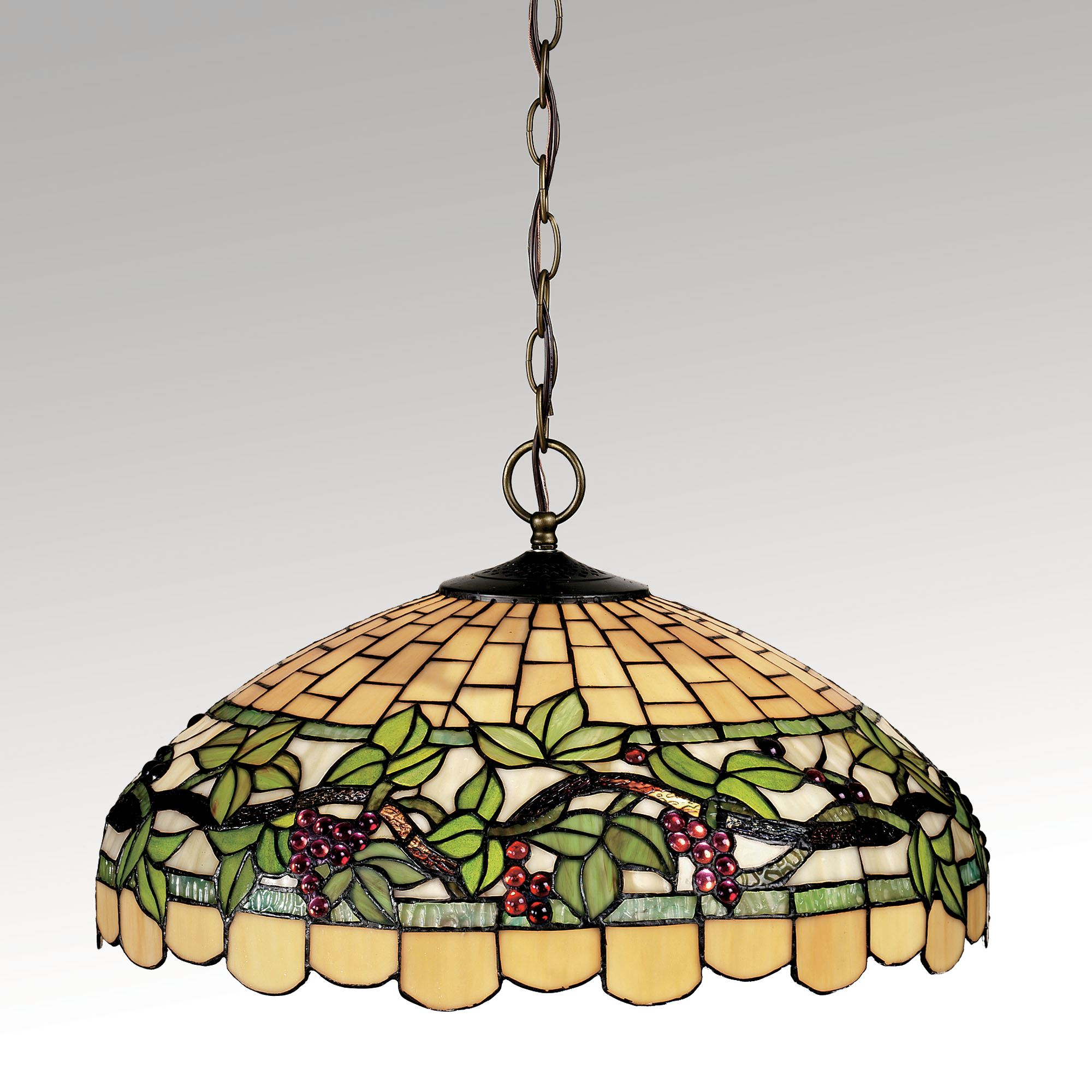 Grapevine Breeze Stained Gl Hanging Lamp Touch To Zoom