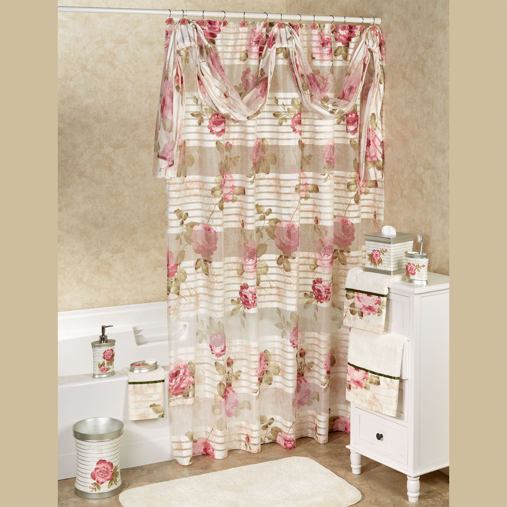 Spring Rose Shower Curtain Light Cream 72 X Touch To Zoom