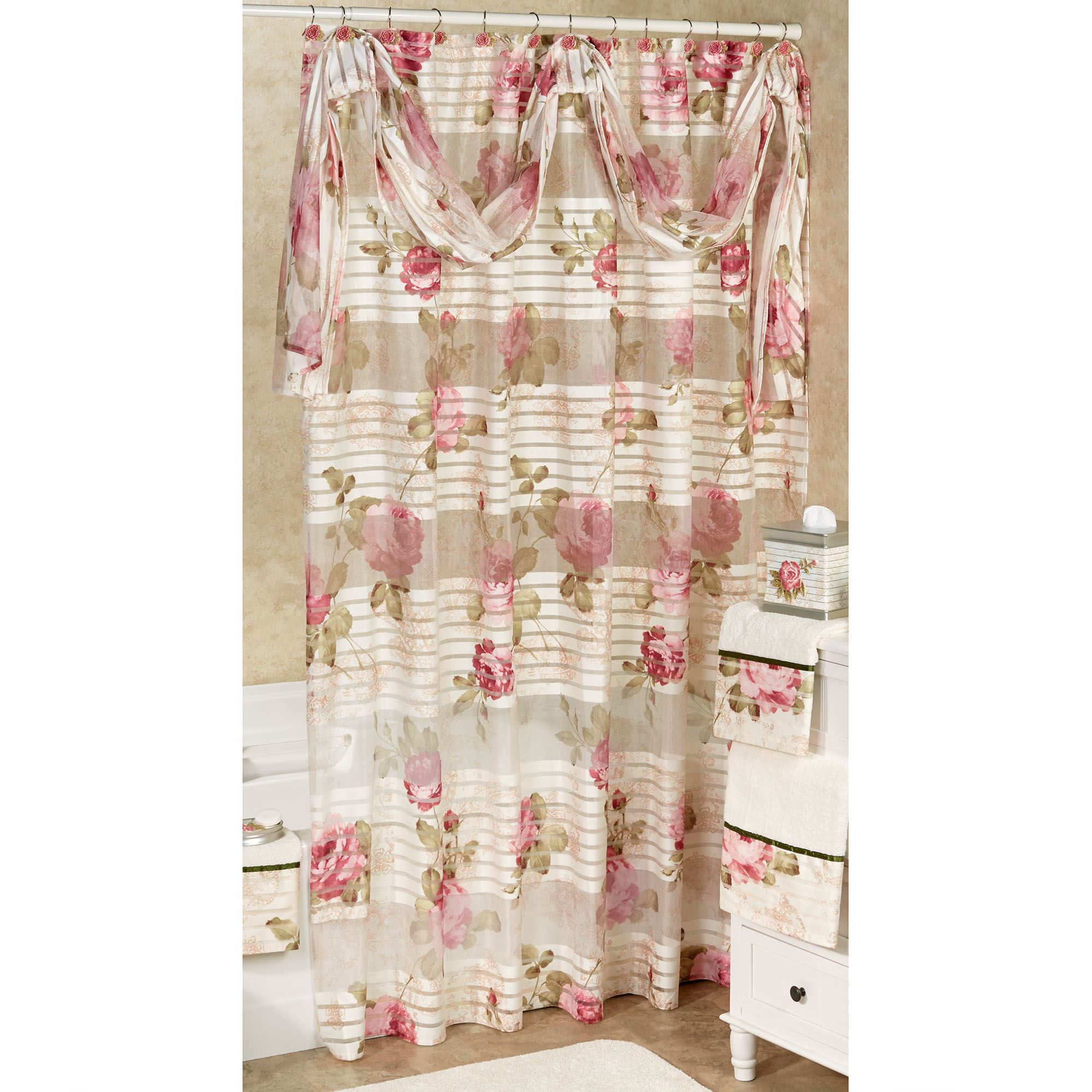 Spring Rose Shower Curtain Light Cream 72 X