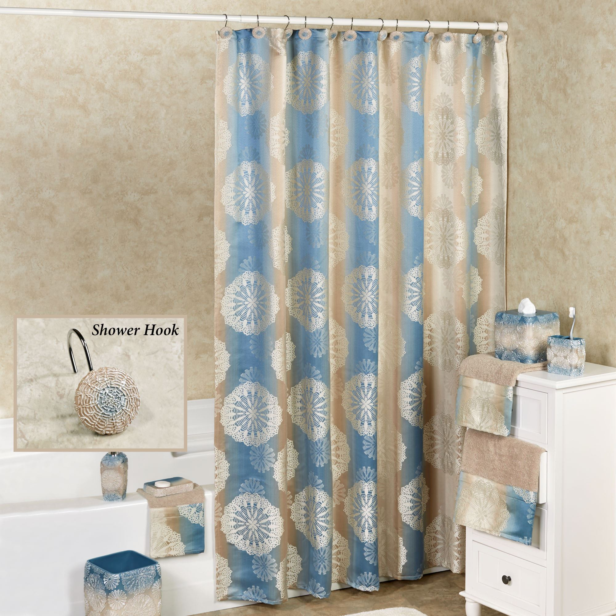 keya showr medallion room stripe curtain darkening window decor medallions products panel shower set blue lush