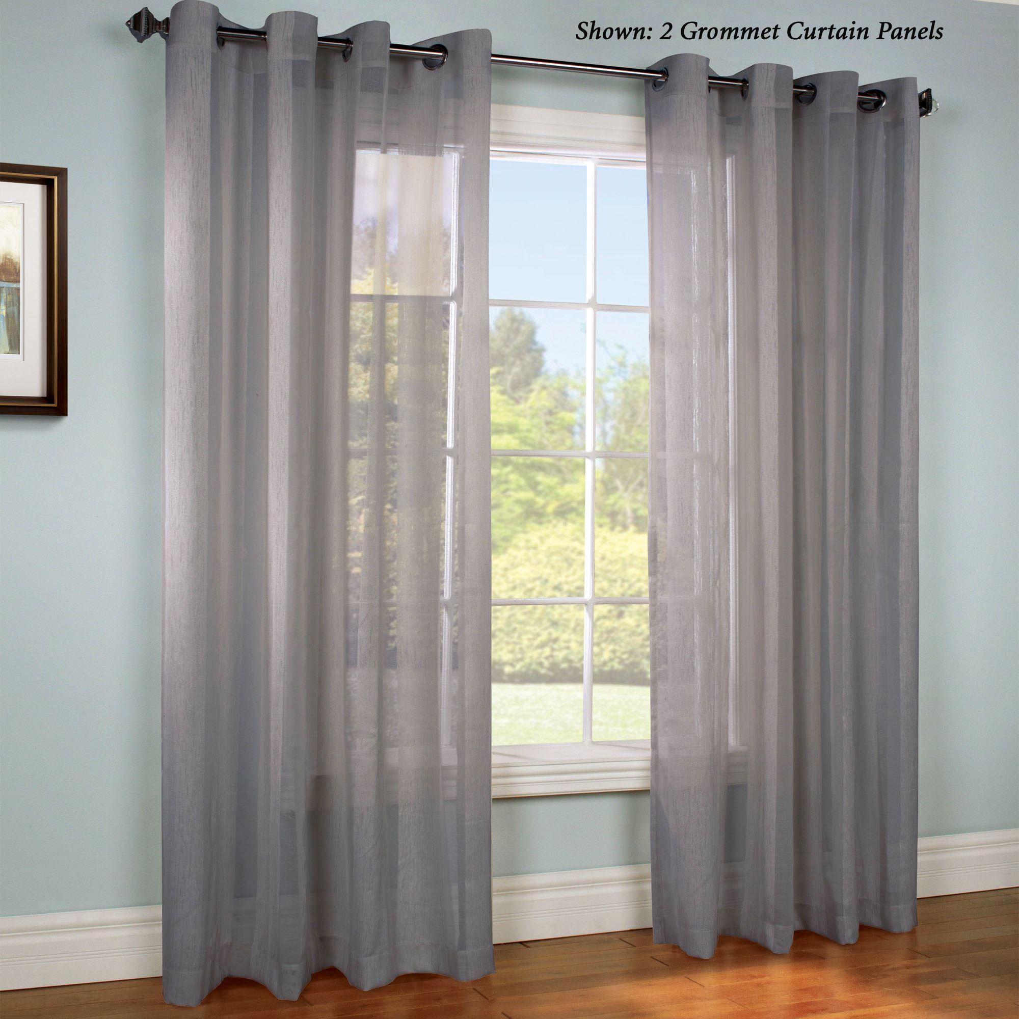 Stellan Dark Gray Striped Sheer Grommet Curtain Panels