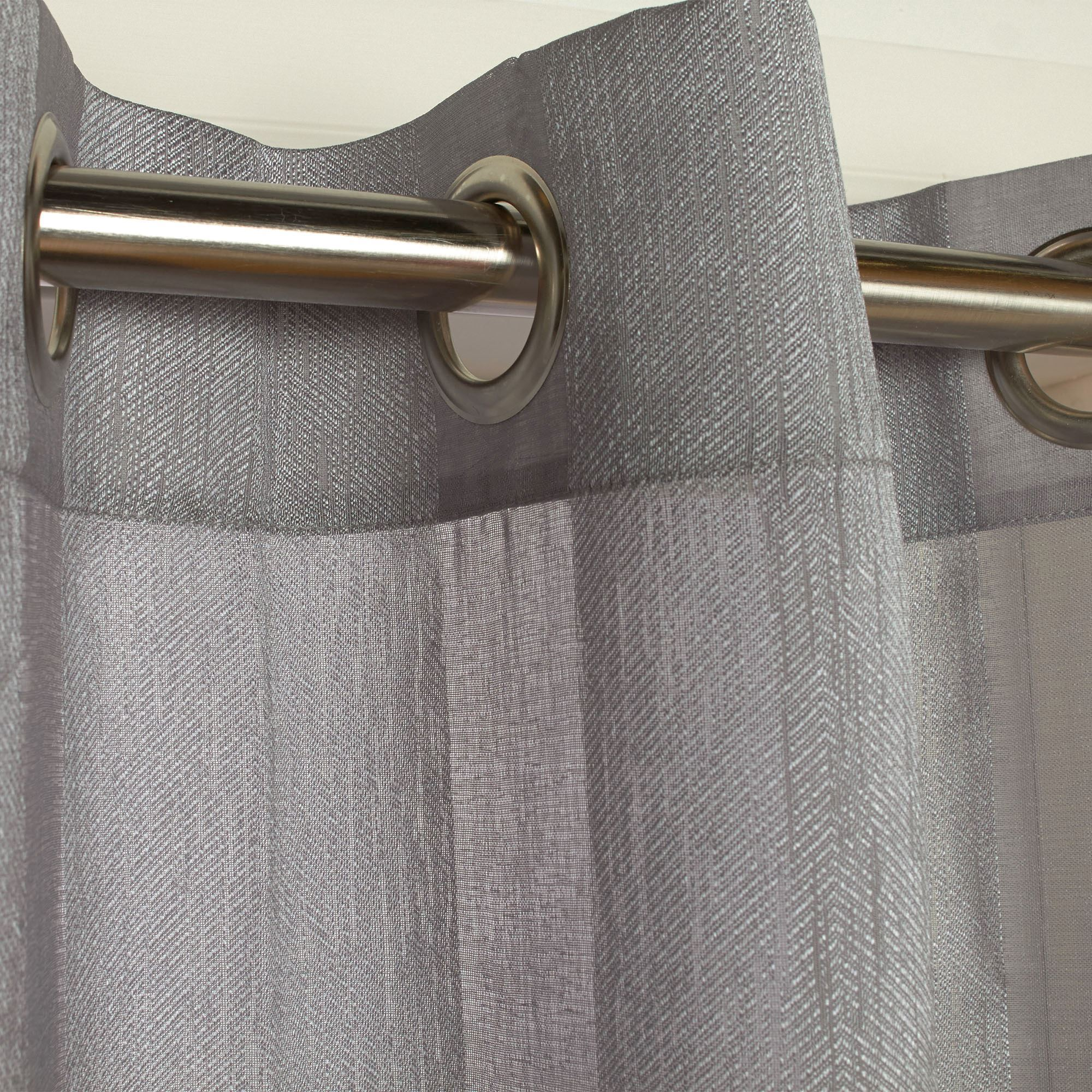 Stellan Dark Gray Striped Sheer Grommet Curtain Panels