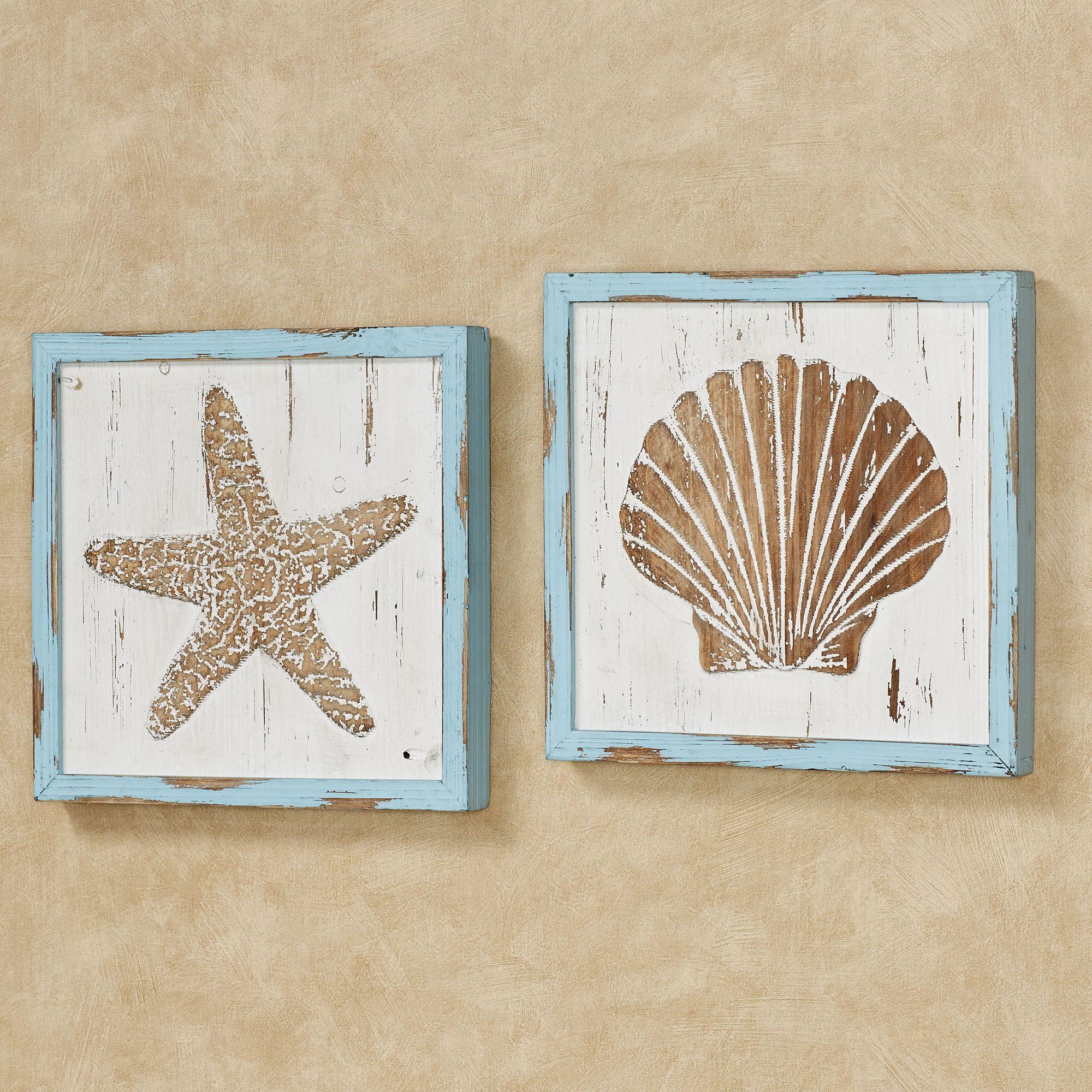 Seashore Starfish and Seashell Framed Wooden Coastal Wall ...