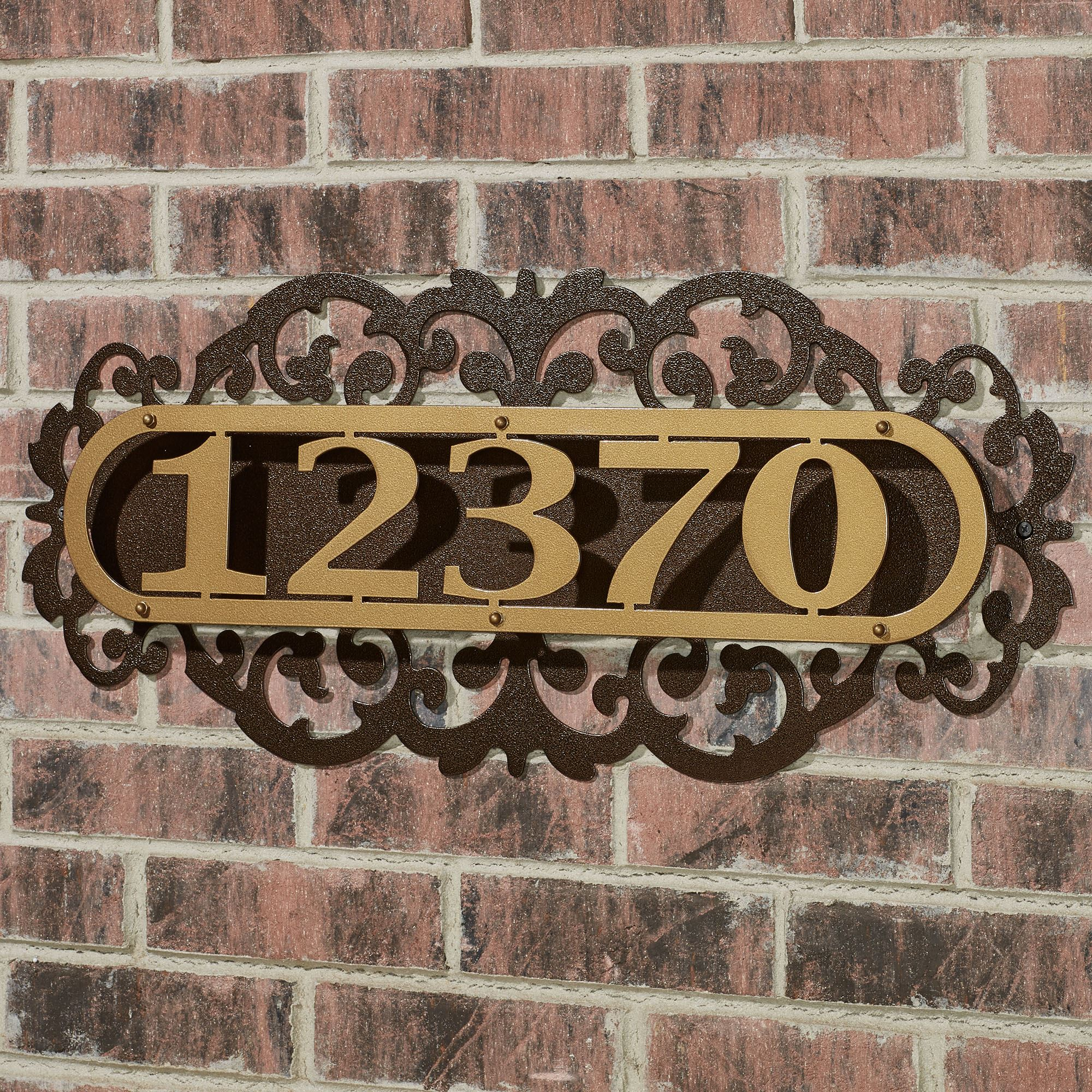 laroyal gold metal house number address plaque. Black Bedroom Furniture Sets. Home Design Ideas