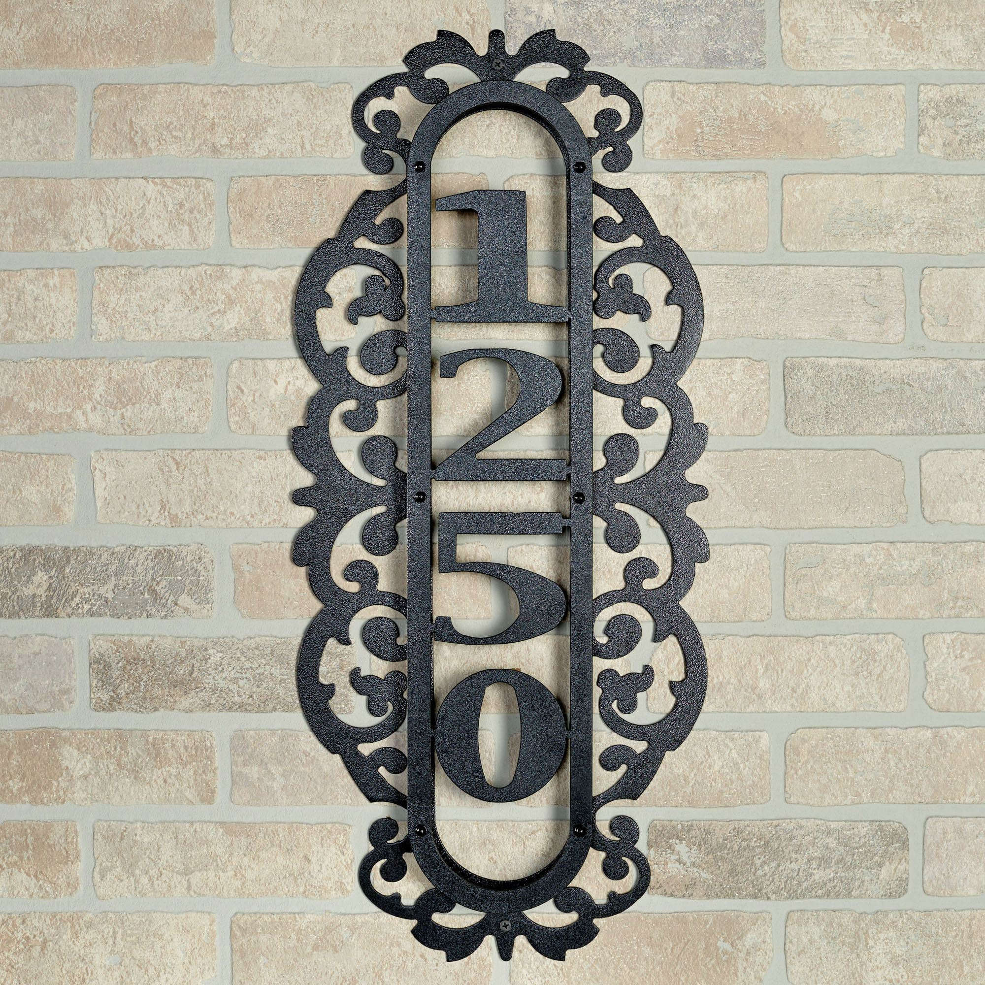 Laroyal vertical house number plaque black four to five numbers touch to zoom