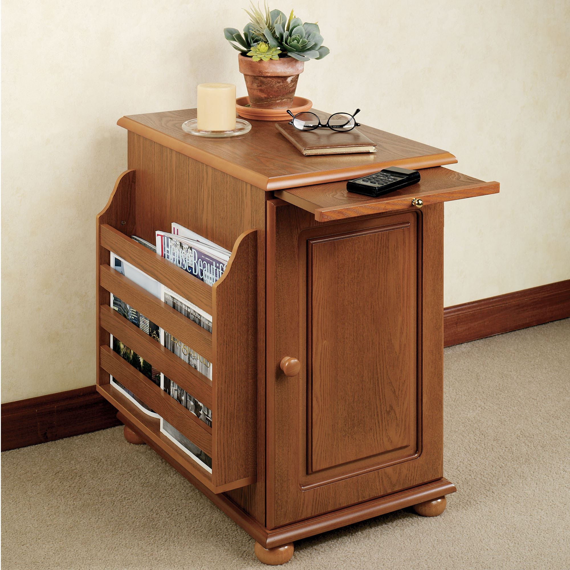 Side Table With Storage.Ayden Magazine Storage Table