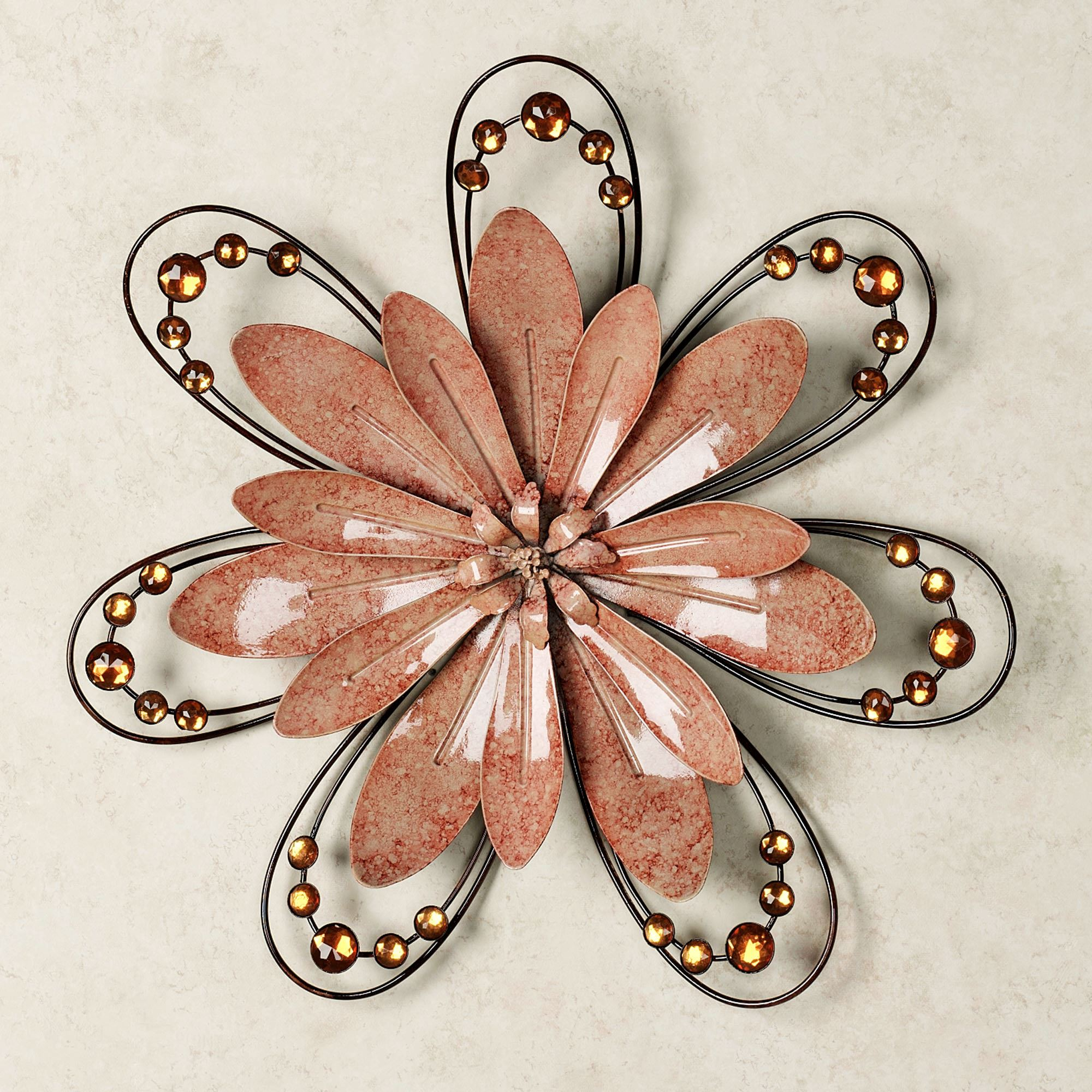 Outdoor Metal Flower Wall Art Fair Peach Floral Gem Metal Wall Accent Design Ideas