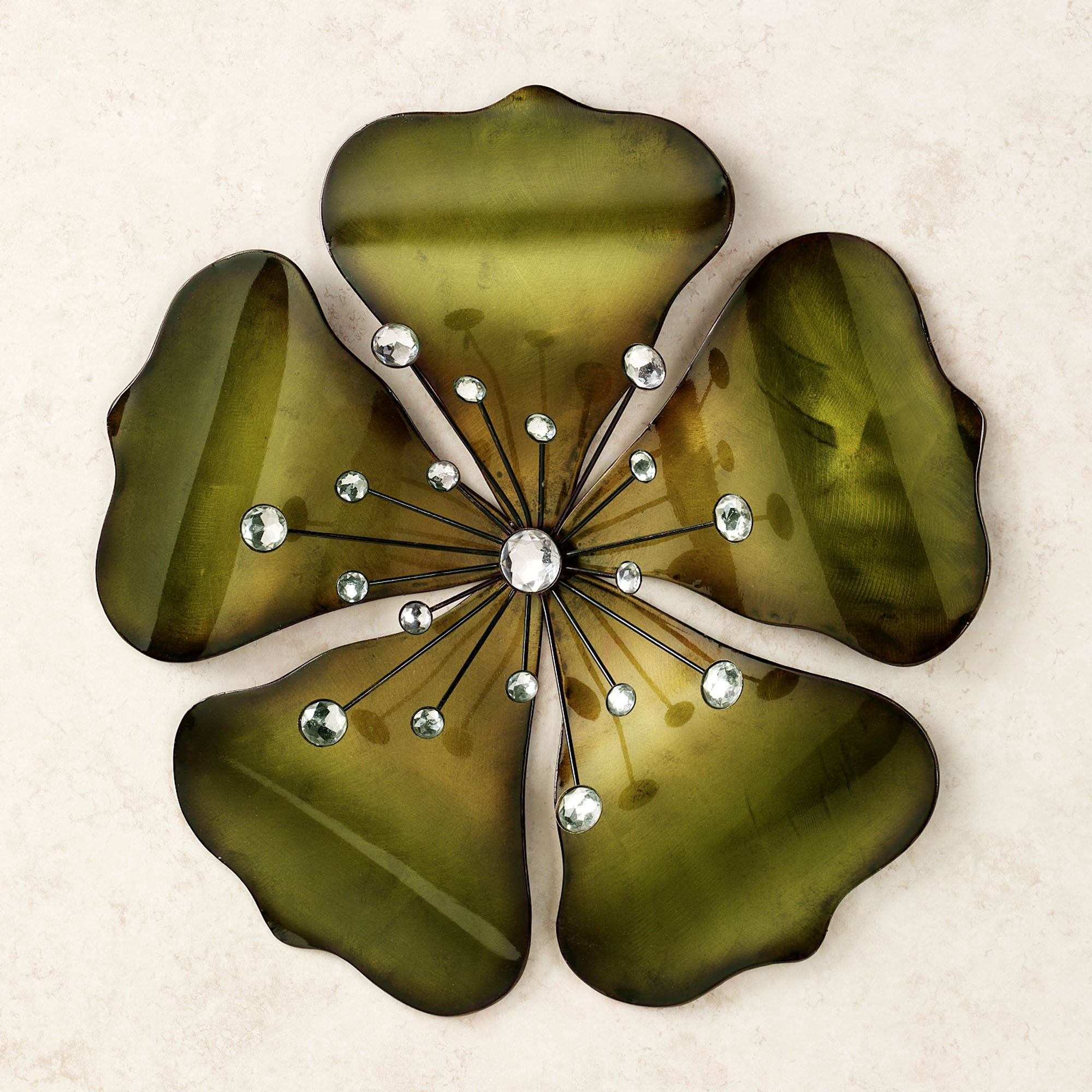 Shimmering Gem Green Flower Wall Art. Click To Expand