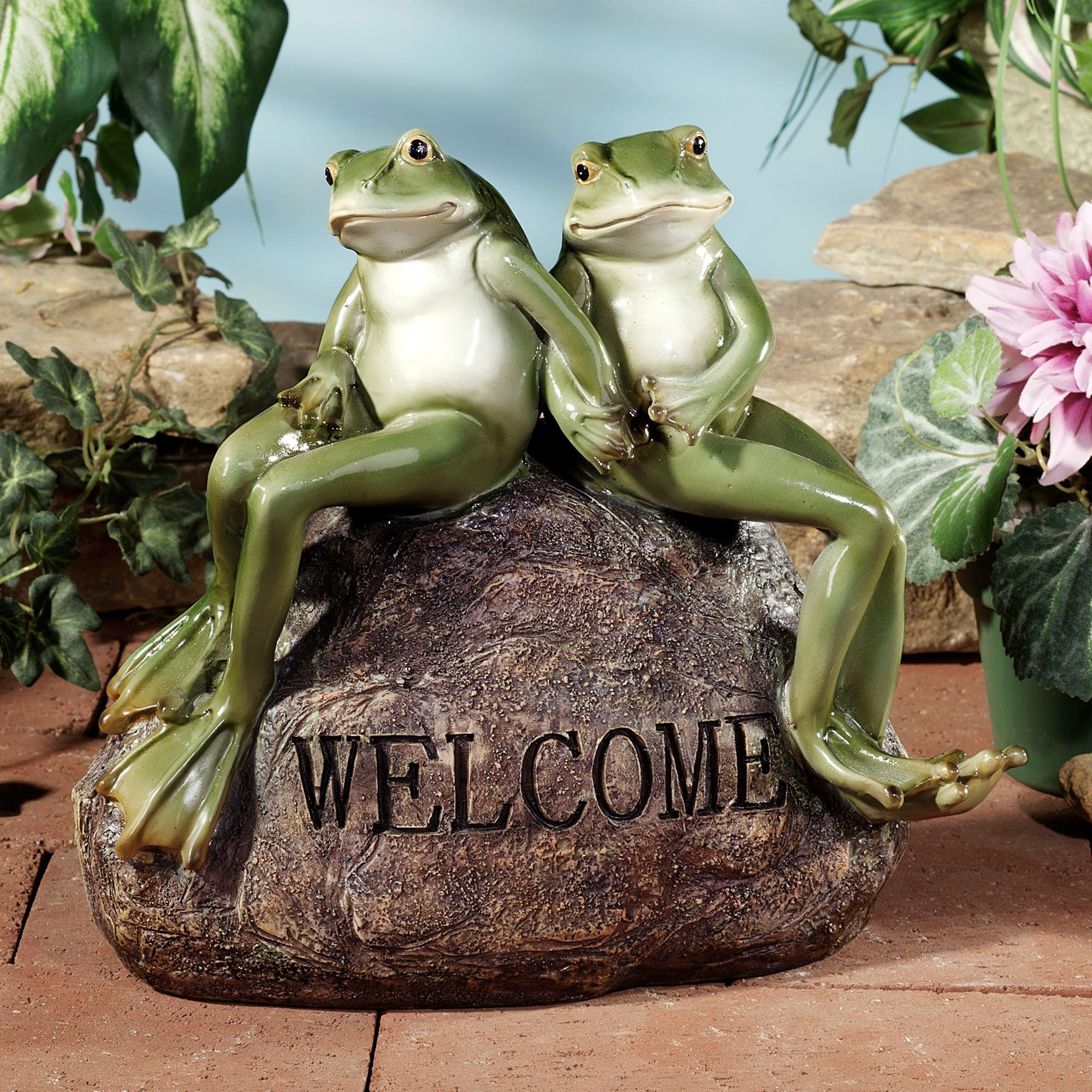Frogs On Welcome Stone Outdoor Accent