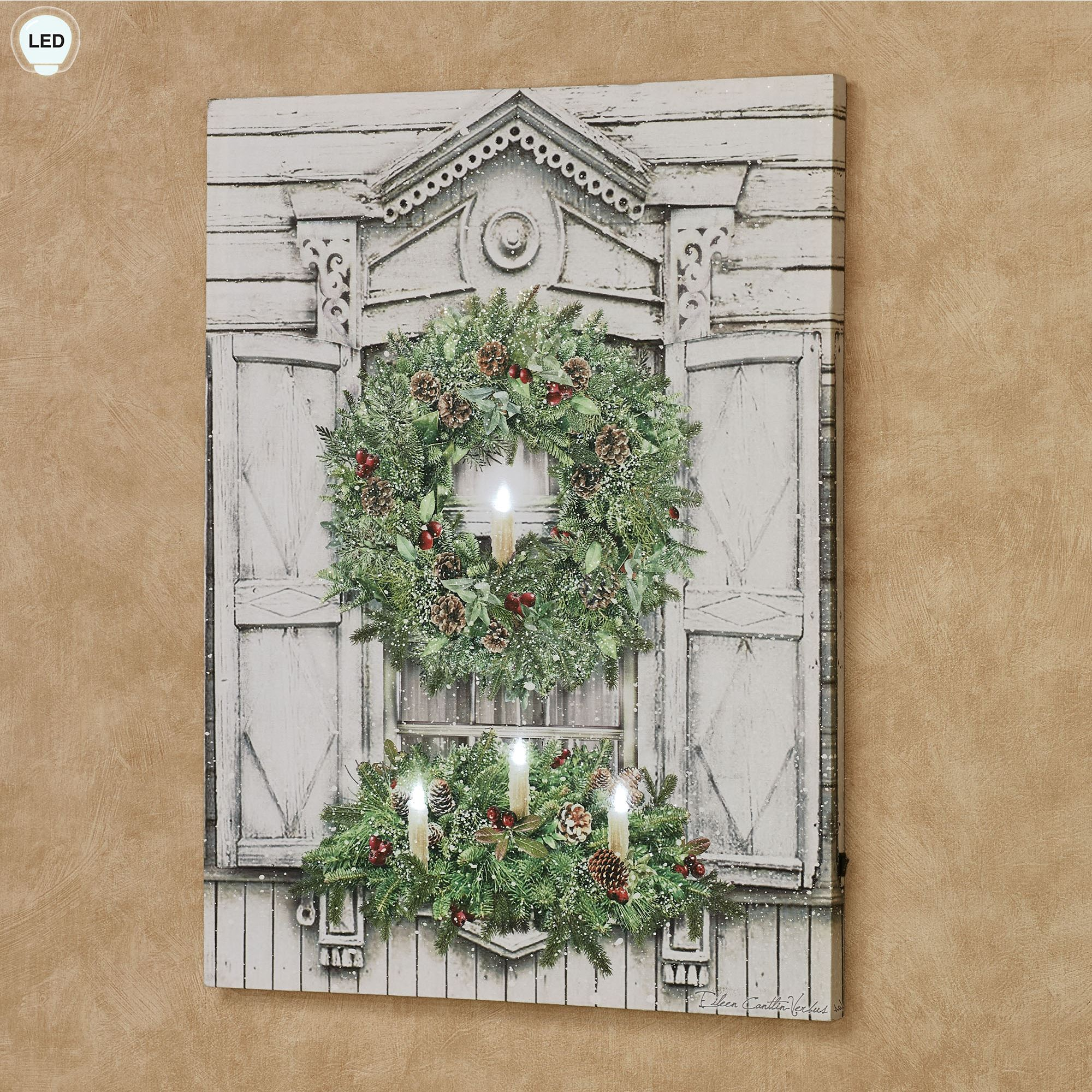 Christmas Window Led Lighted Canvas Wall Art