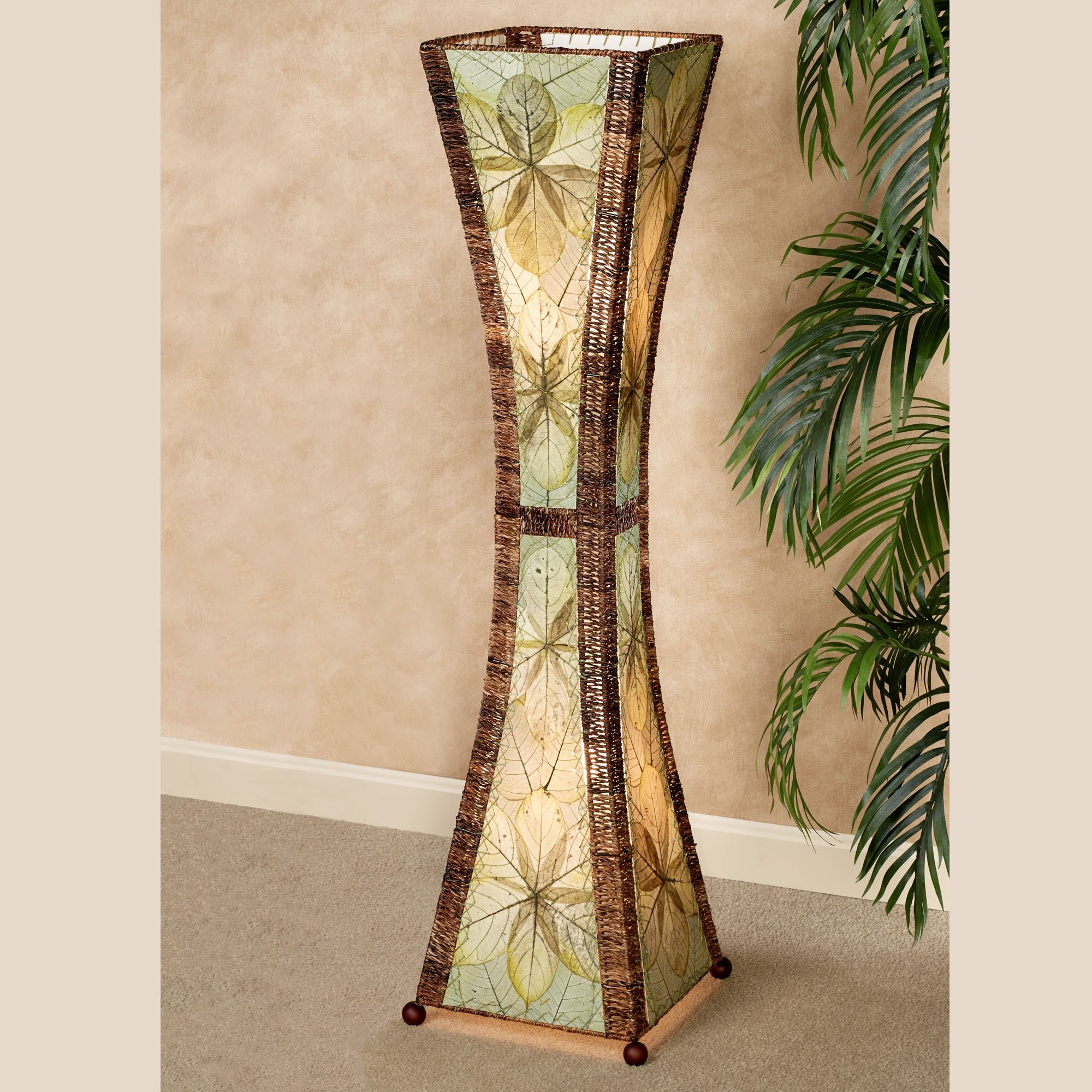 Table lamps and home lighting touch of class brunei jackfruit leaf tropical hourglass floor lamp arubaitofo Choice Image