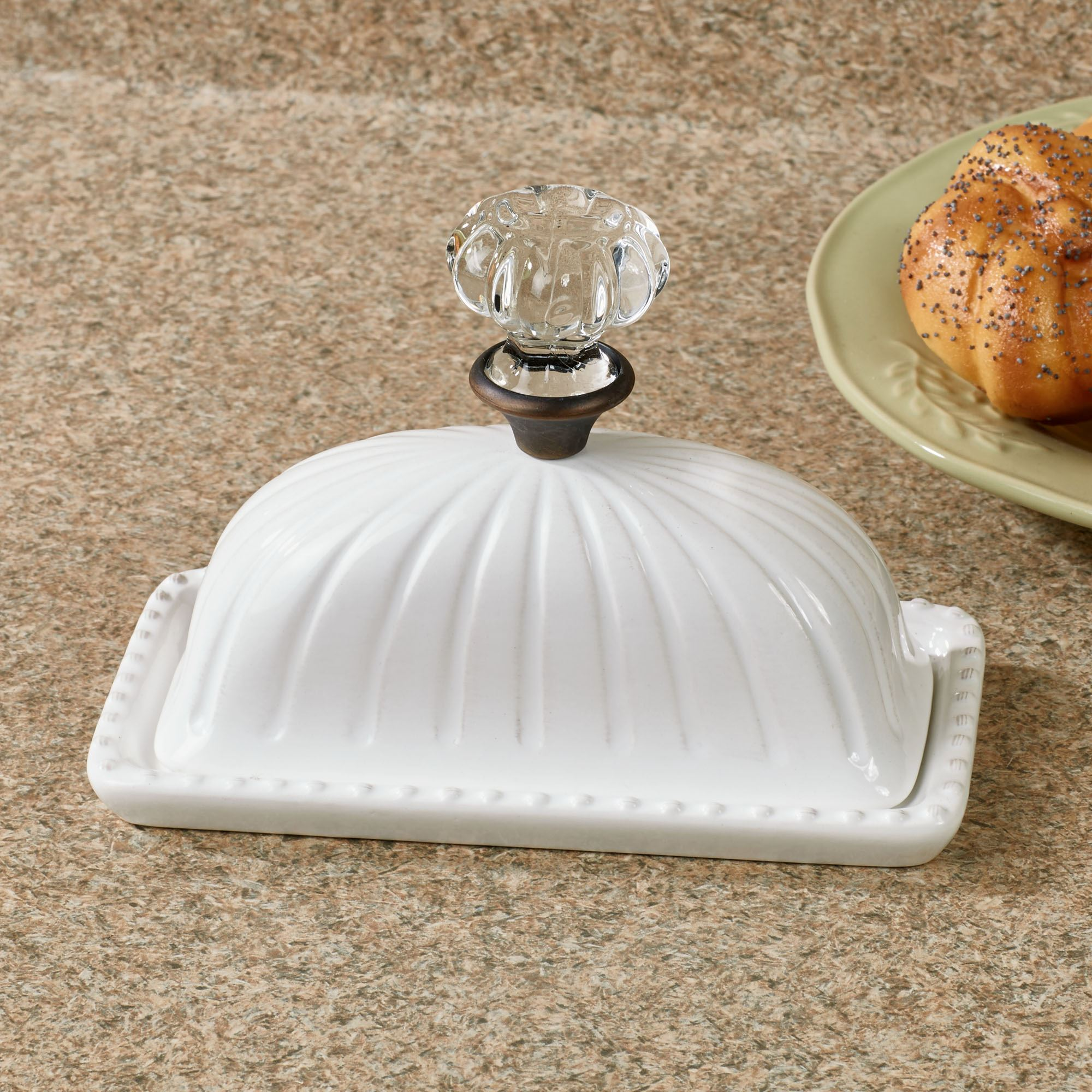 7 White Ceramic Speckled Covered Butter Dish