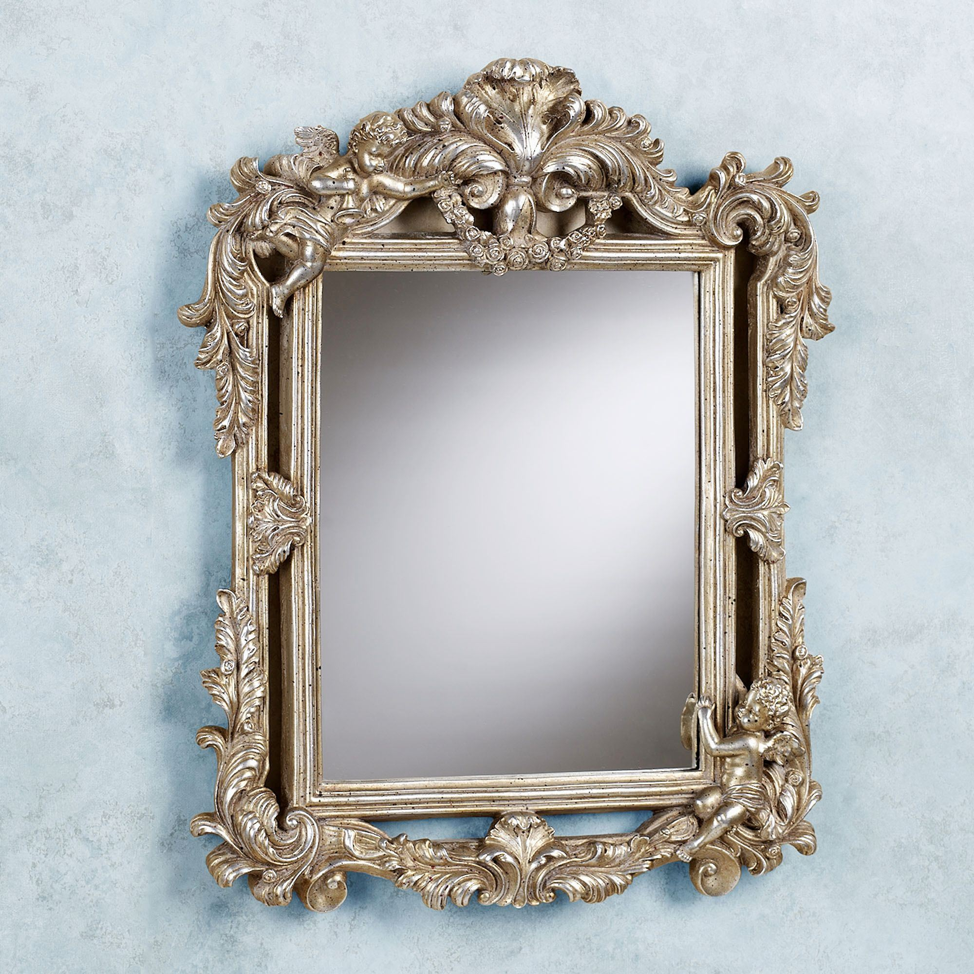 Cherub double framed accent wall mirror for Accent wall mirrors