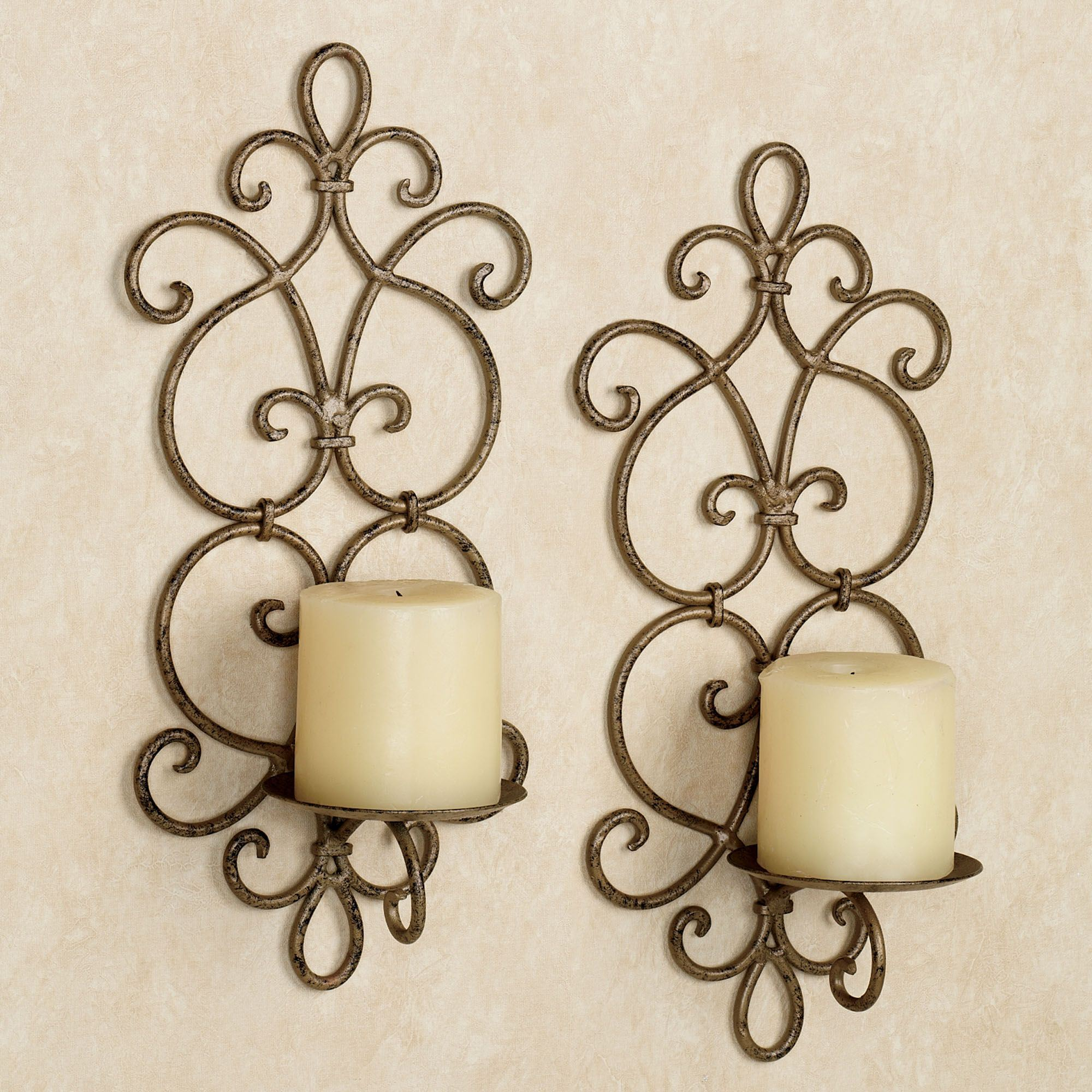 Jennings antique gold iron wall sconce pair jennings wall sconce pair antique gold pair click to expand amipublicfo Image collections