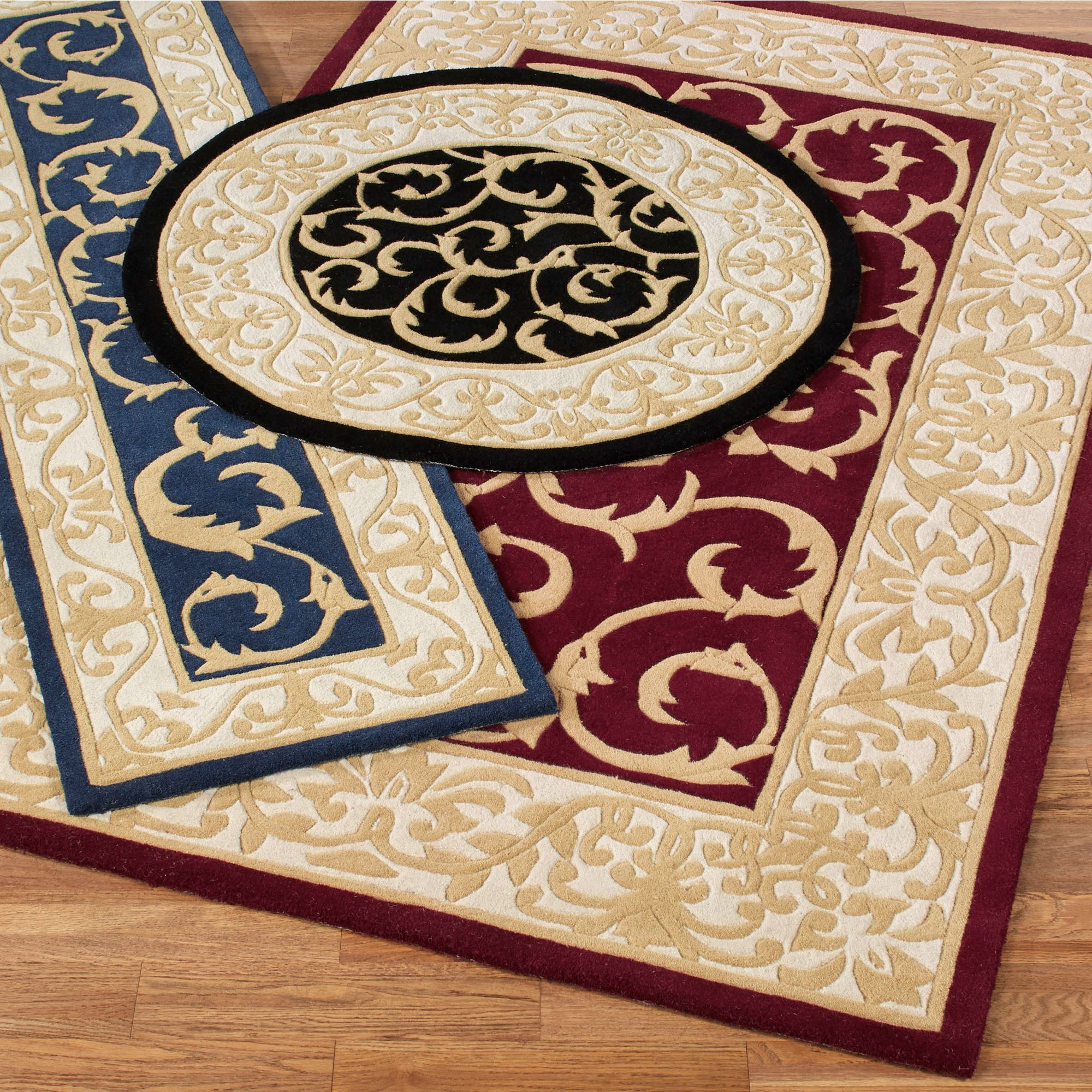 Regal Scroll Traditional Wool Area Rugs