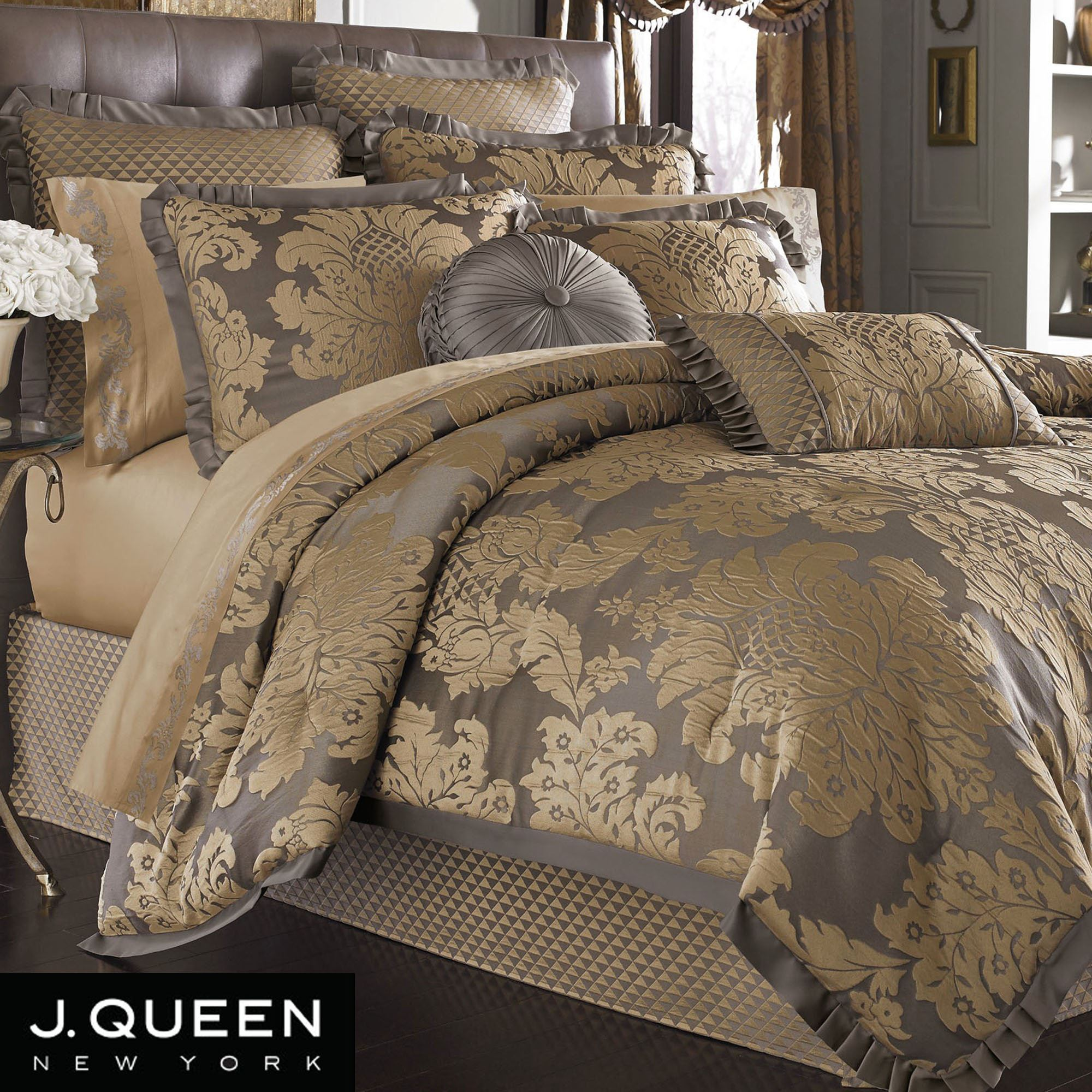 Melbourne Damask Comforter Set Dark Gray