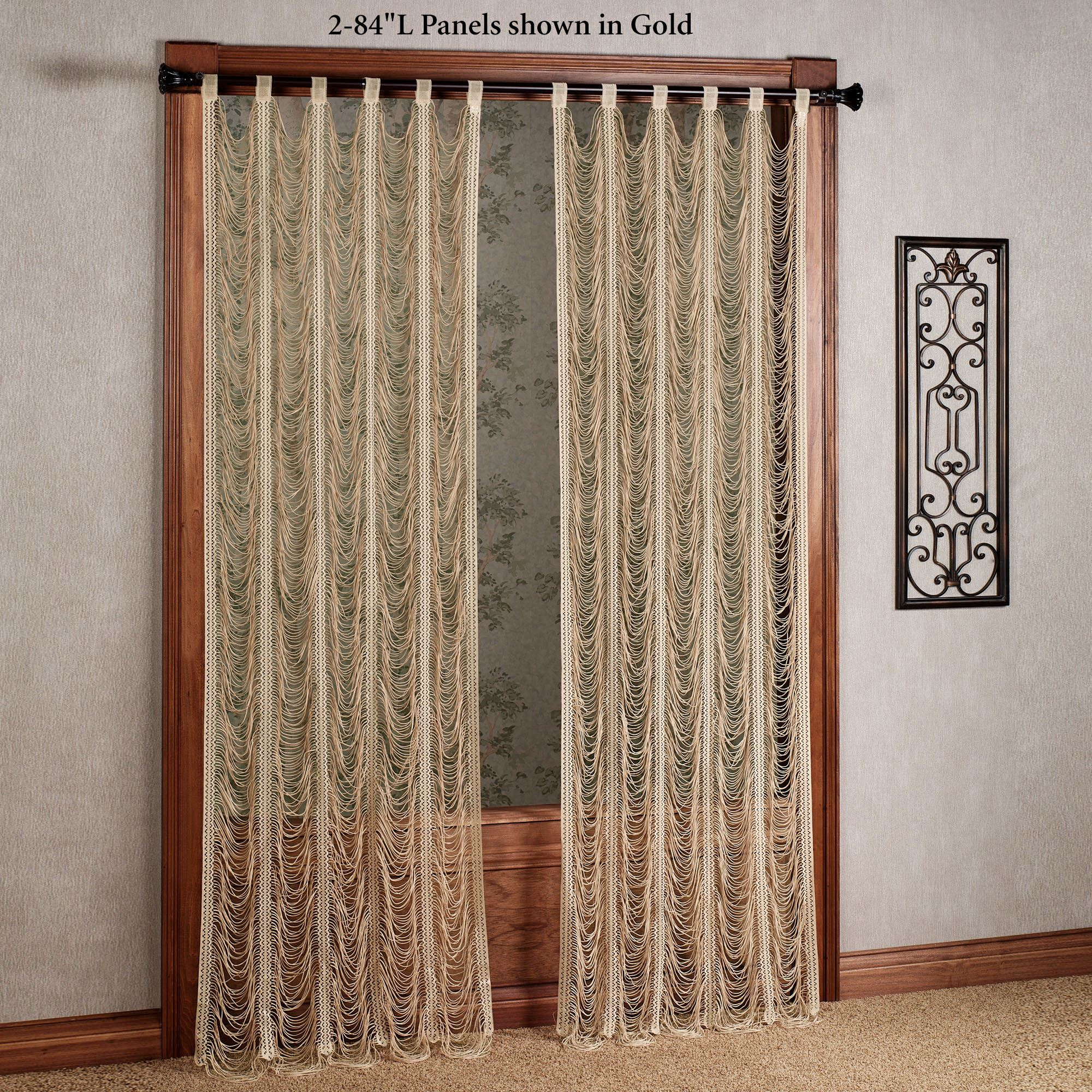 Sorrento Ii Gold String Lace Curtain Panels