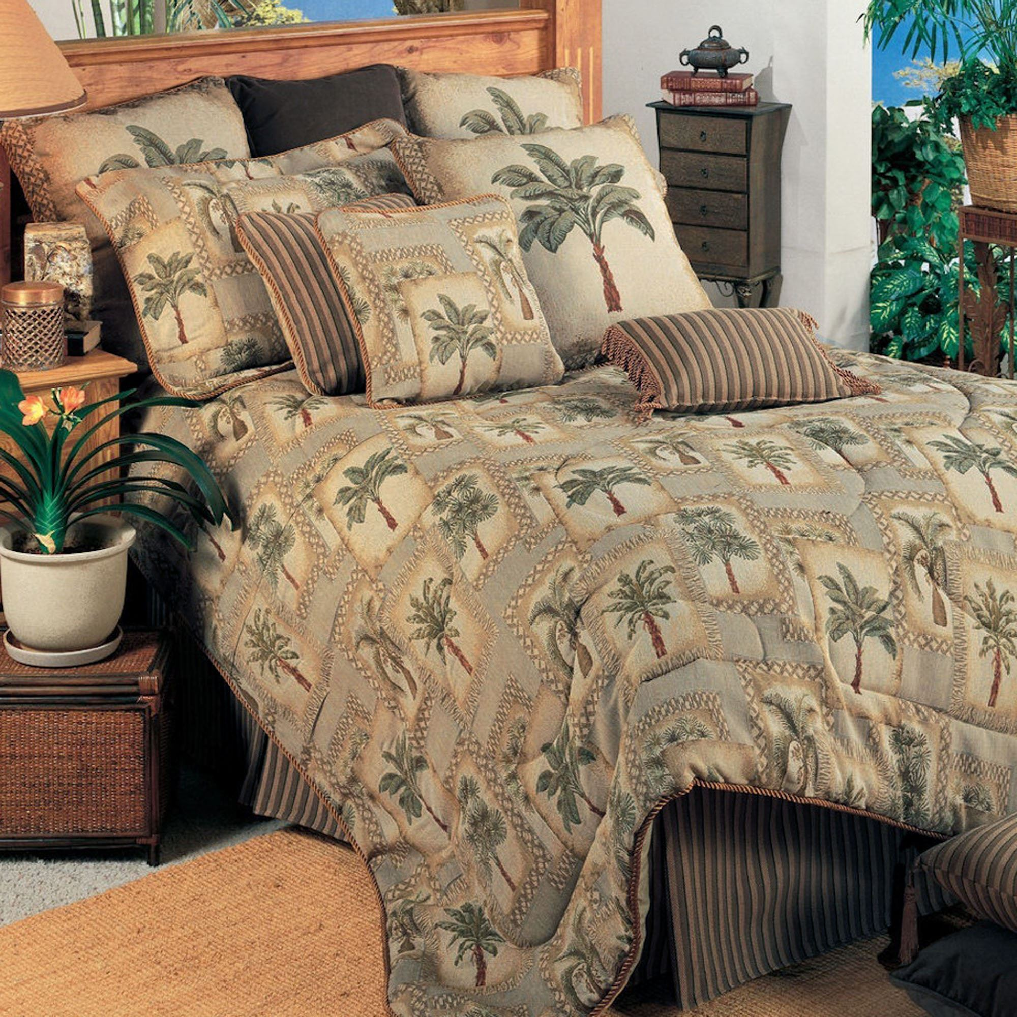 Bedroom Sets Clearance Free Shipping: Palm Grove Tropical Palm Tree Comforter Bedding