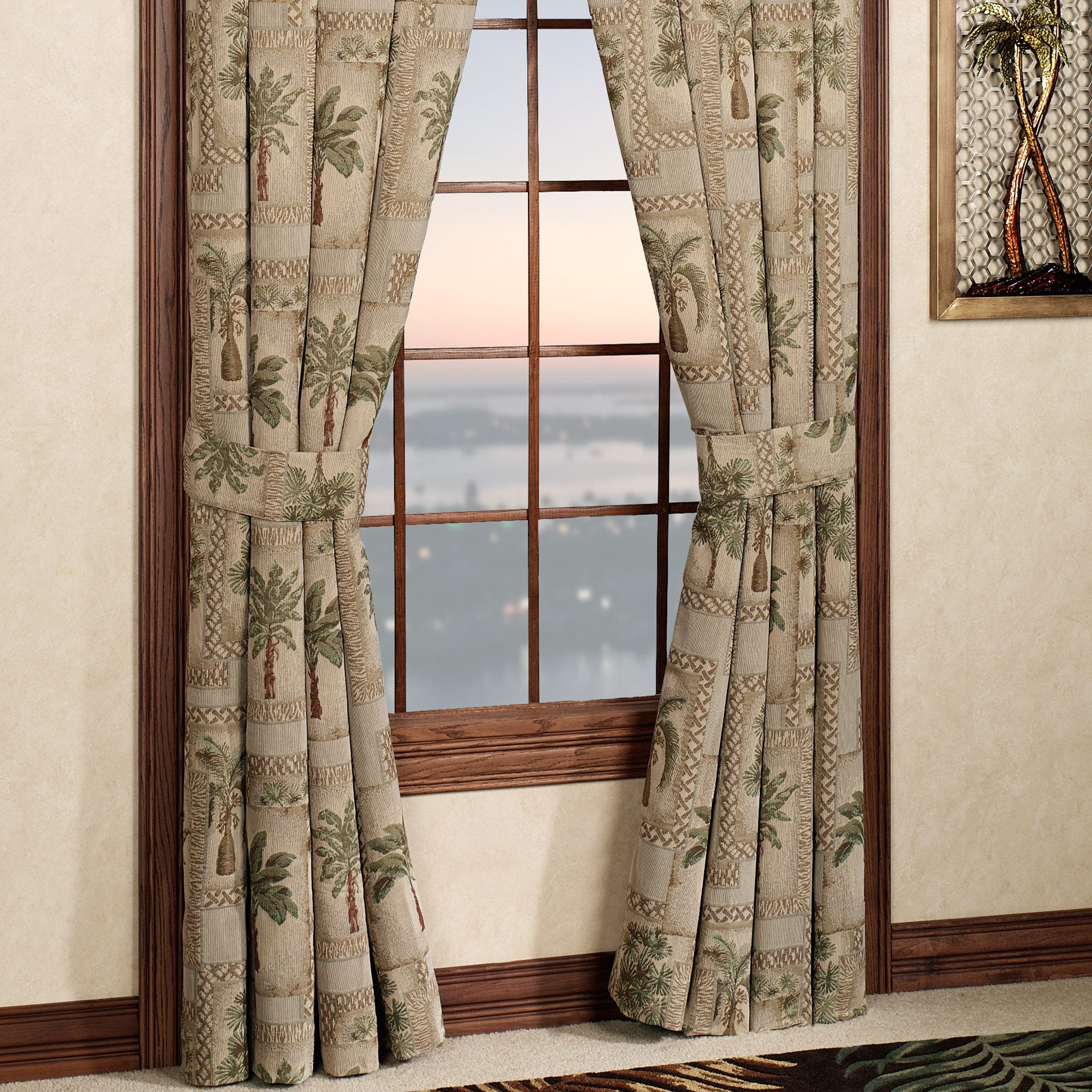 Palm Grove Tailored Curtain Pair Almond 84 X