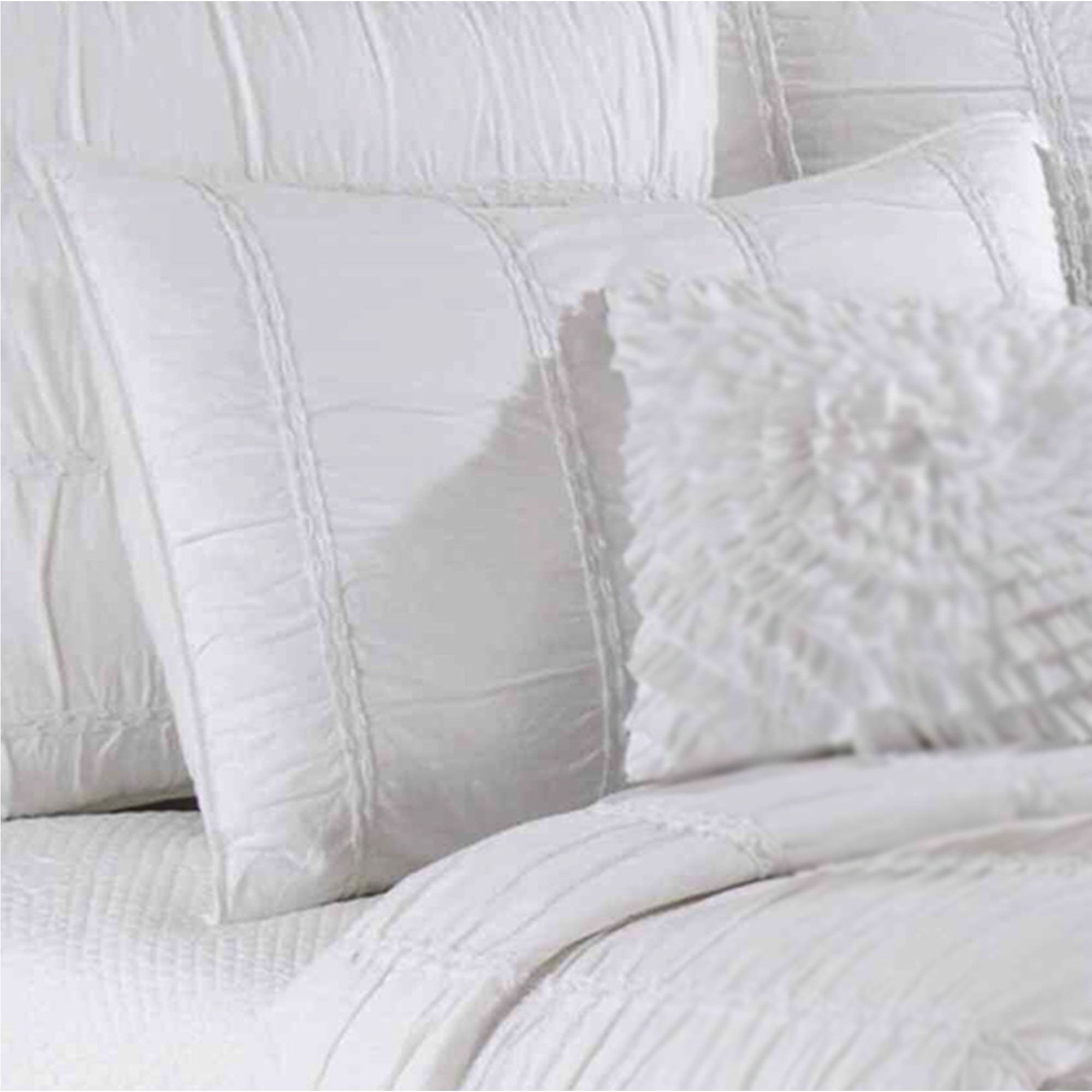 Blanca Ruched White Cotton Quilt Bedding : quilted cotton coverlet - Adamdwight.com