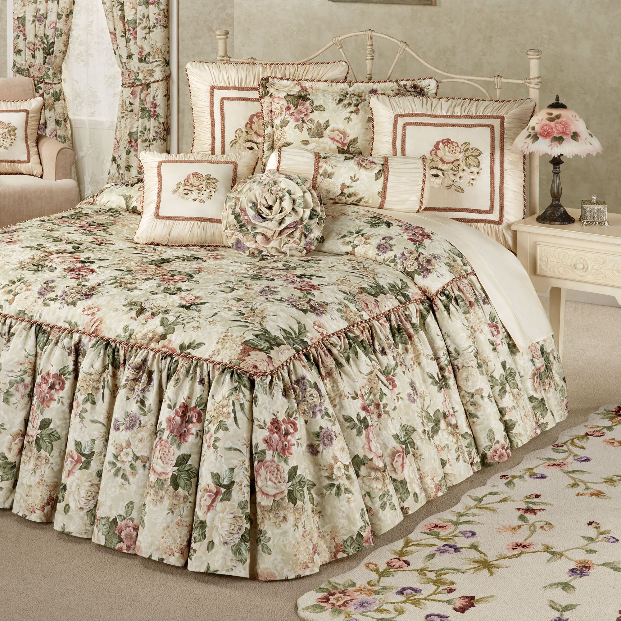 Floral Jubilee Light Cream Oversized Bedspread