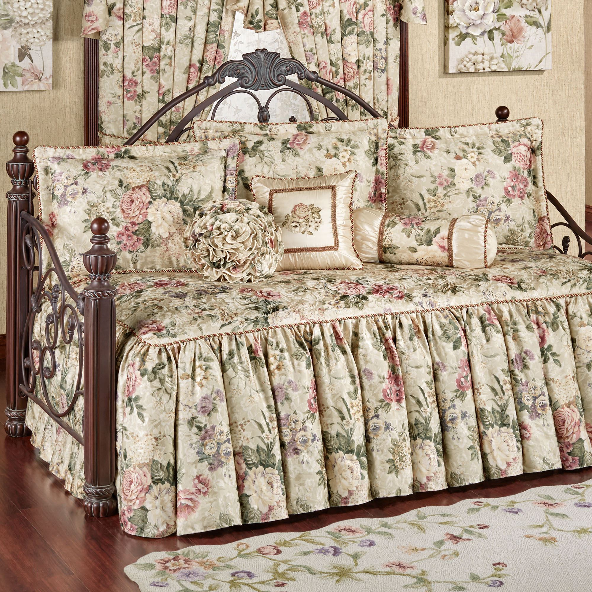 posy daybed p ivory floral bedding quilted pretty comforter set
