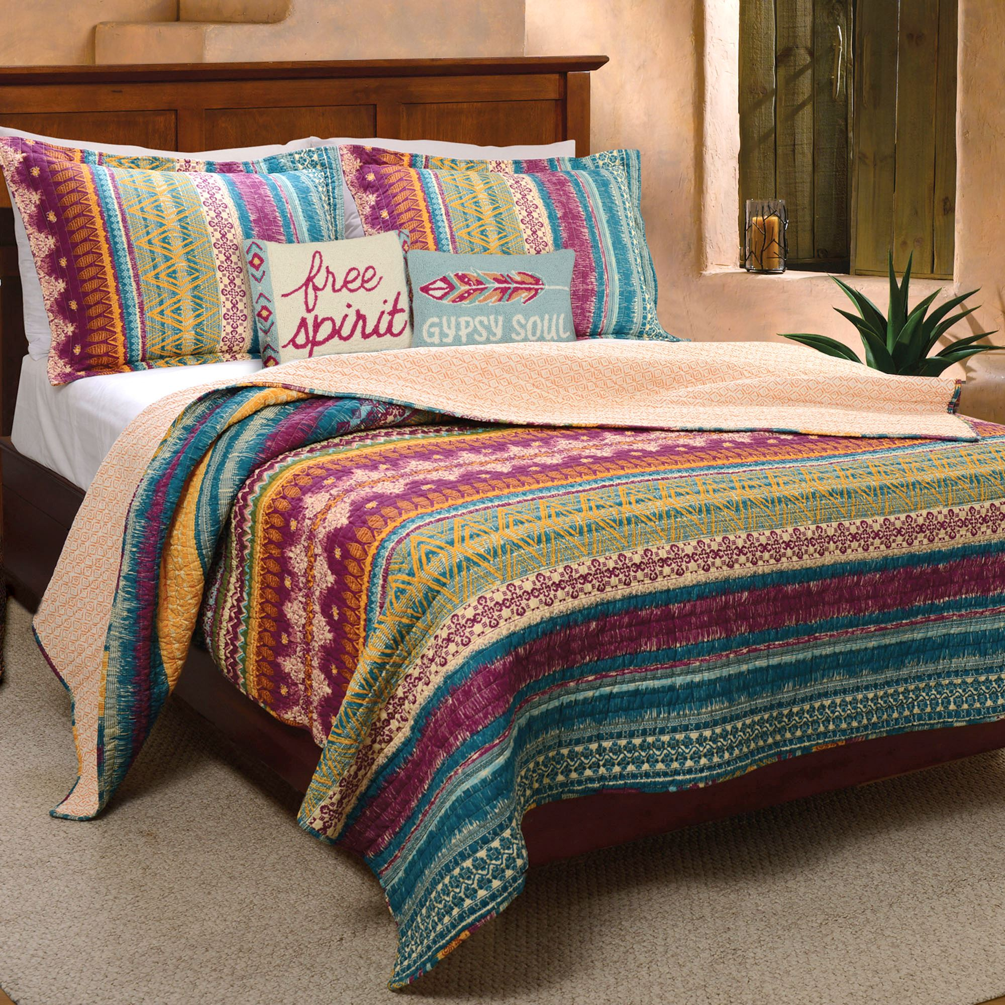 tribal flair multicolored striped quilt set