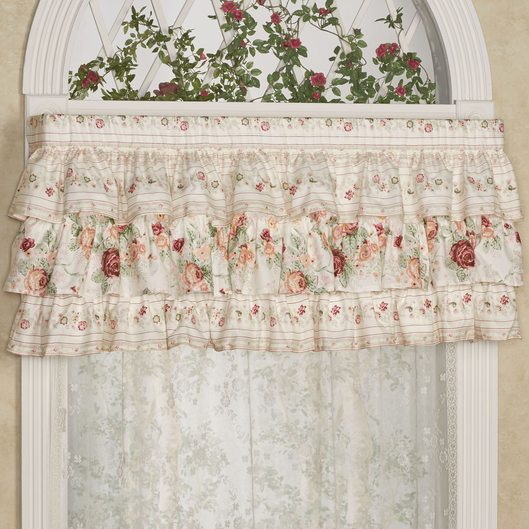 English Rose Floral Ruffled Valance Window Treatment