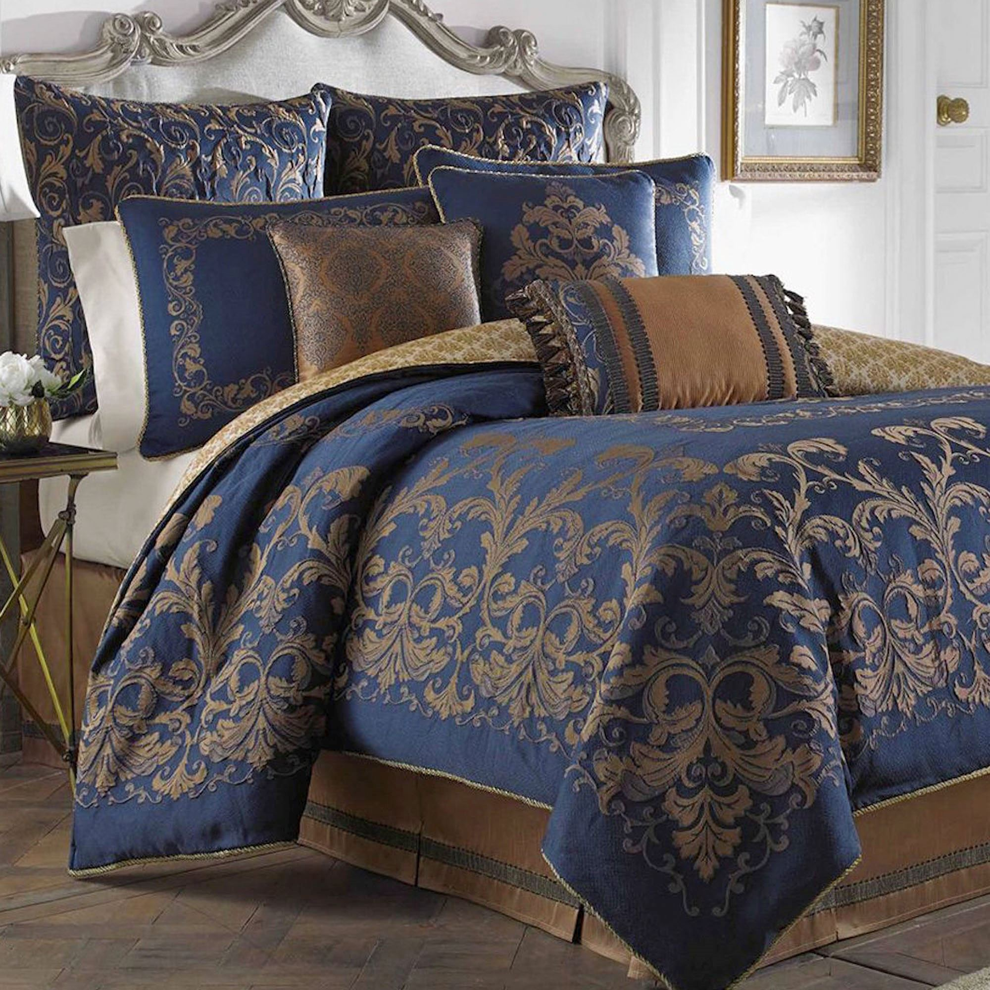 finley blue rx king rs size comforter martex bedding image
