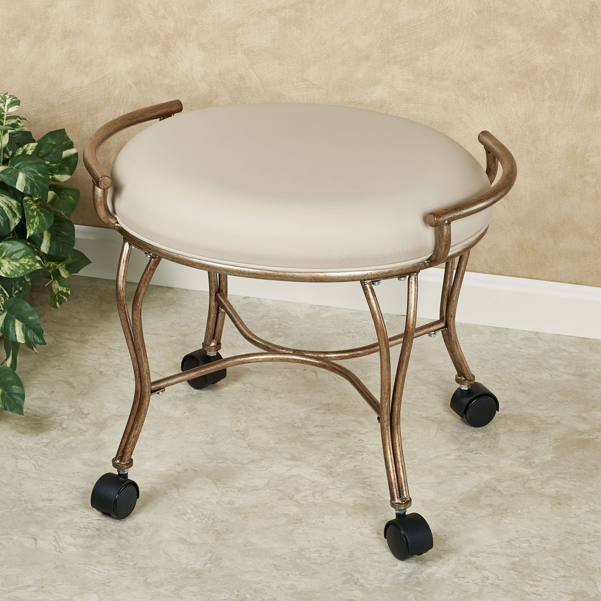 Groovy Contessa Golden Bronze Vanity Stool With Caster Wheels Caraccident5 Cool Chair Designs And Ideas Caraccident5Info