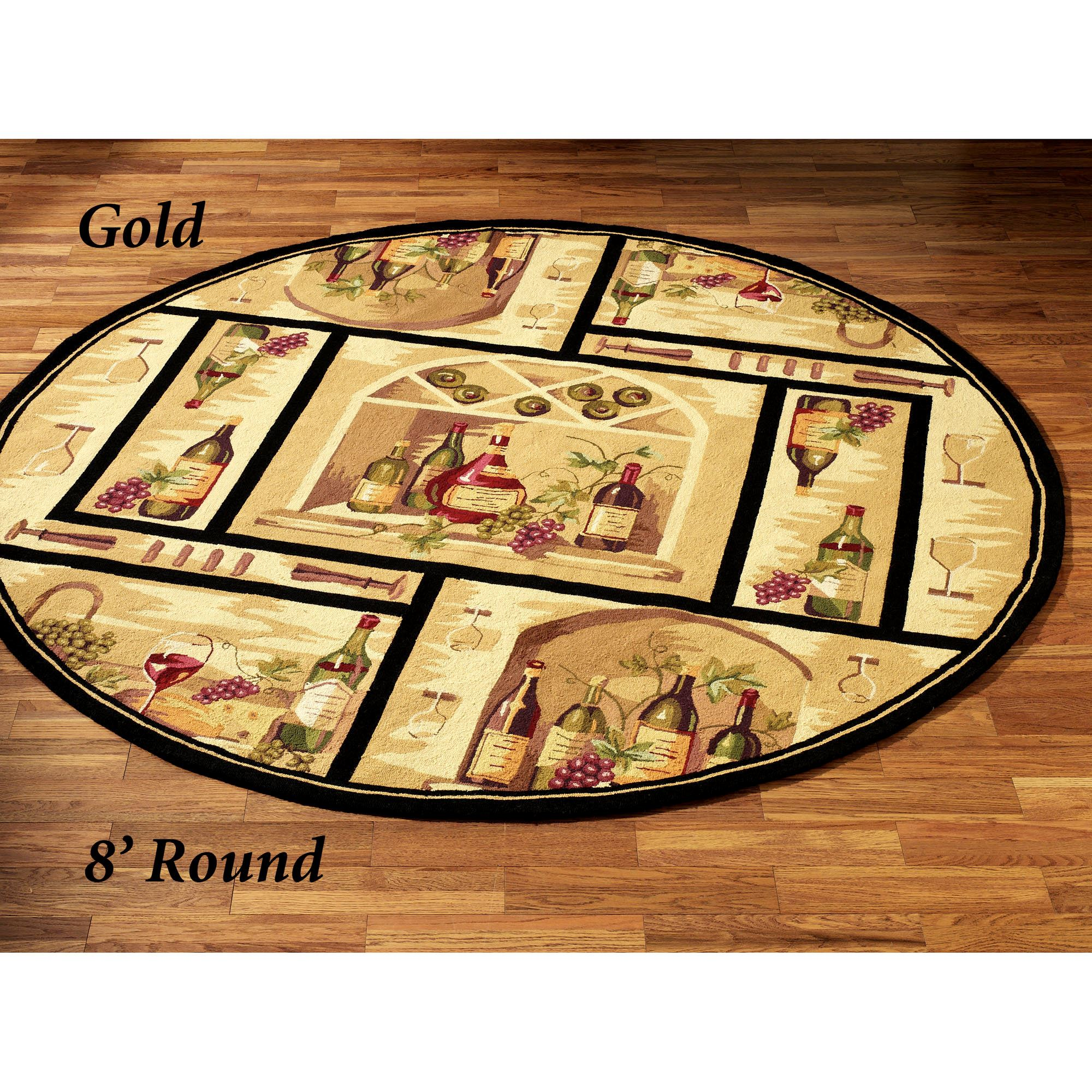 Wine Bottle Round Area Rug