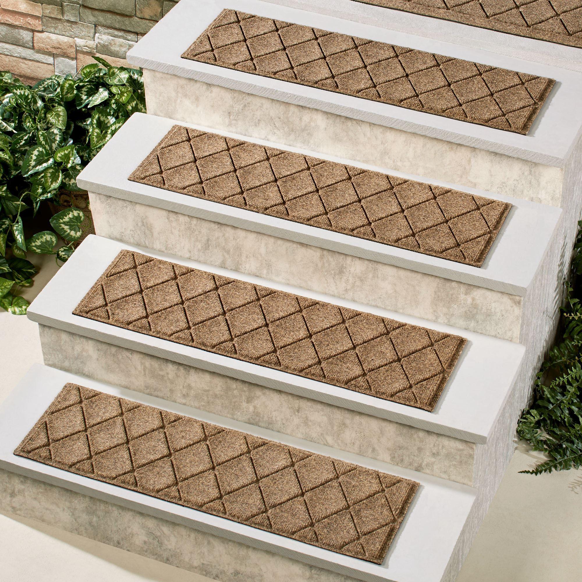 Abalynn Argyle Indoor Outdoor Waterhog Stair Tread Set Of 4