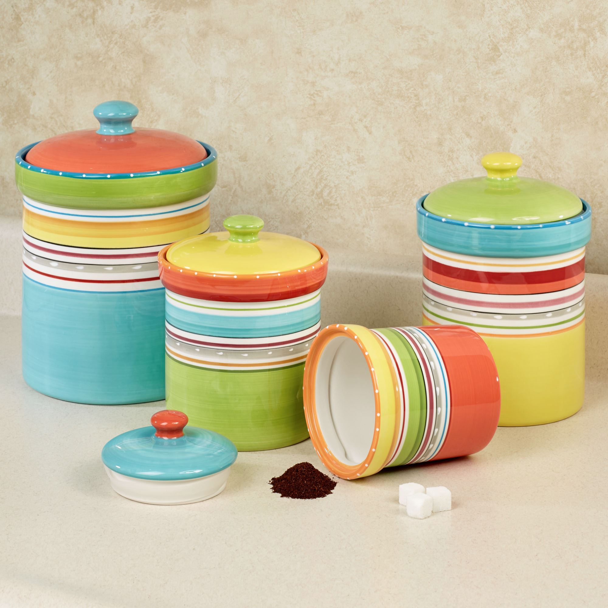 Red Canisters For Kitchen Mariachi Striped Colorful Kitchen Canister Set