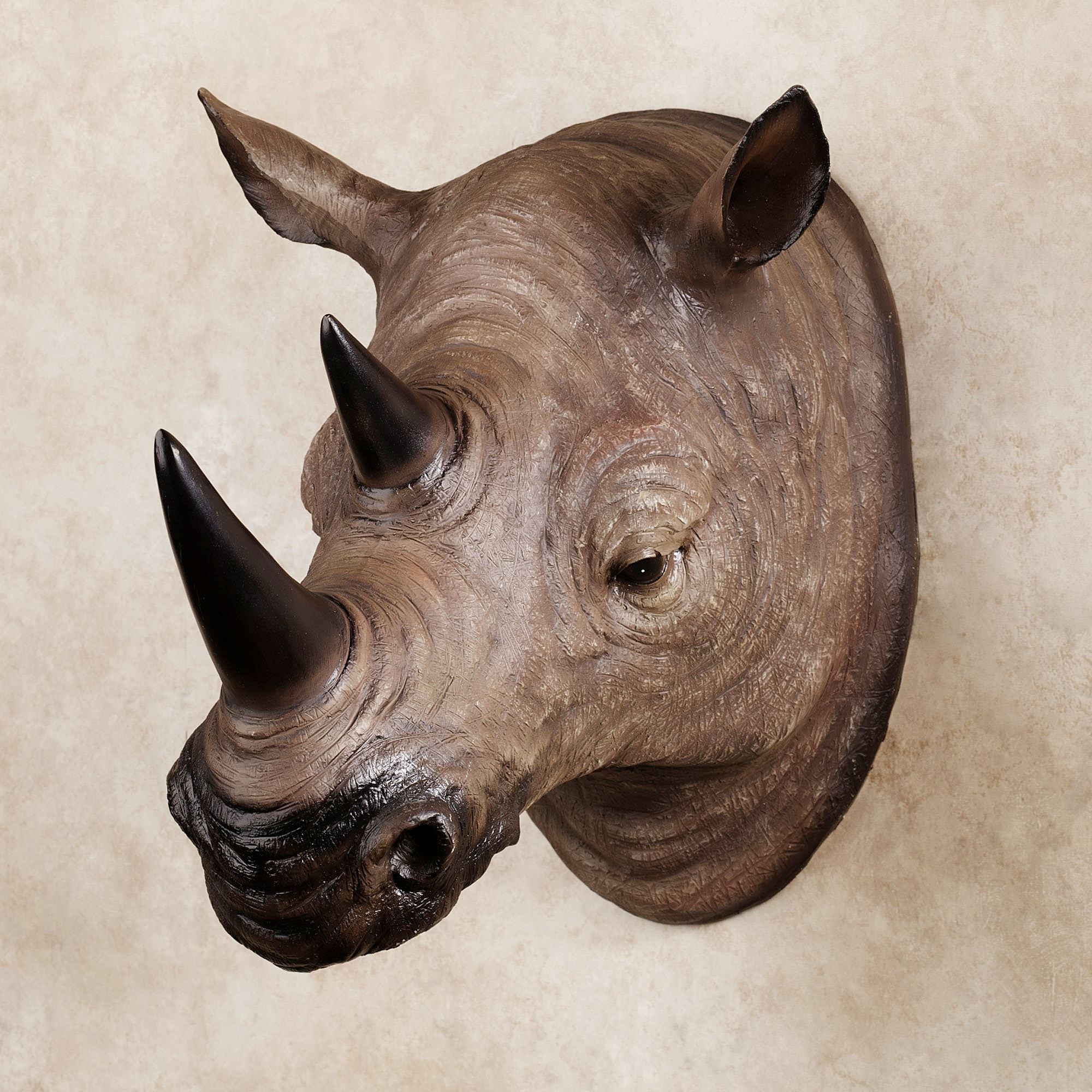 Resin Rhinoceros Head Wall Art