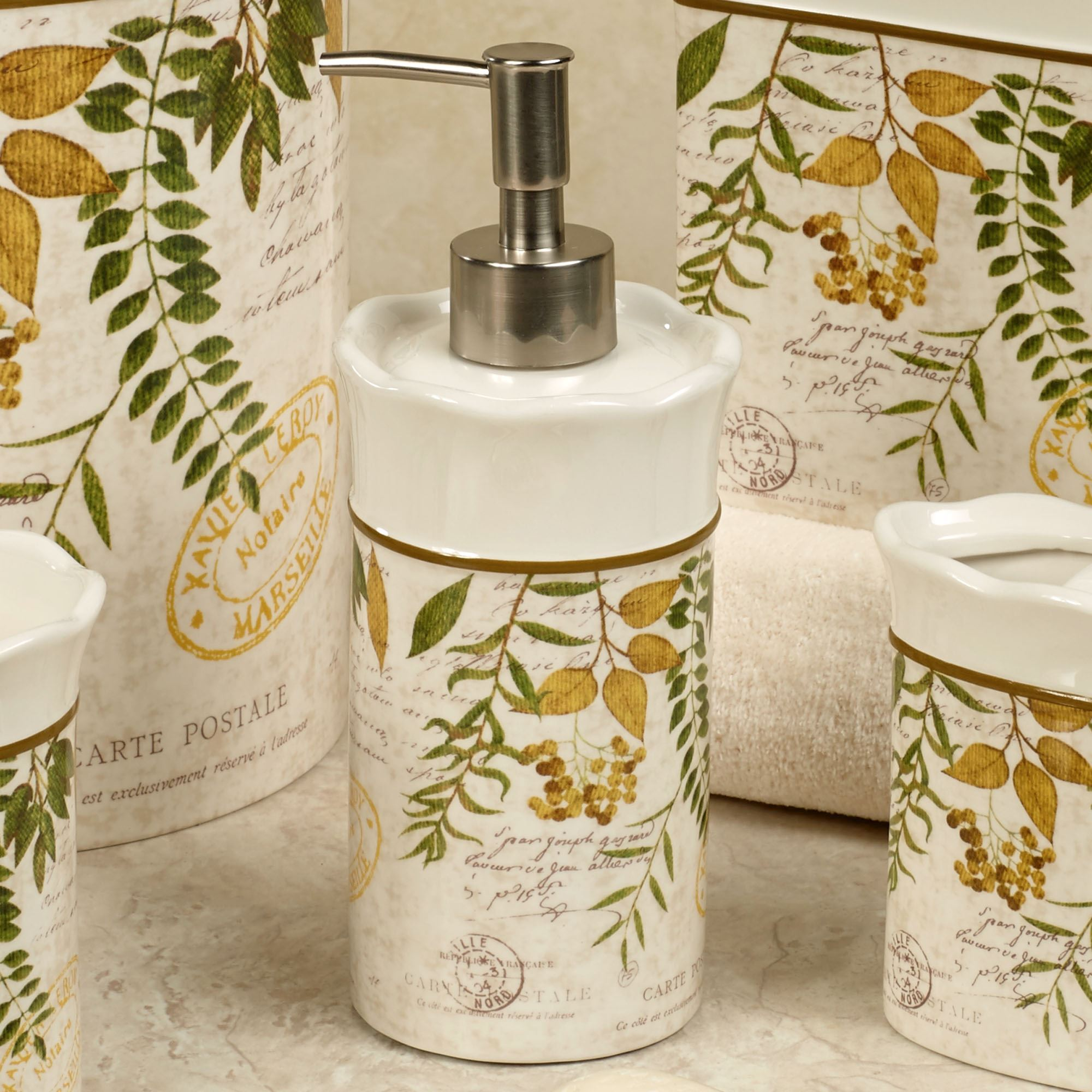 Foliage Garden Lotion Soap Dispenser Ivory