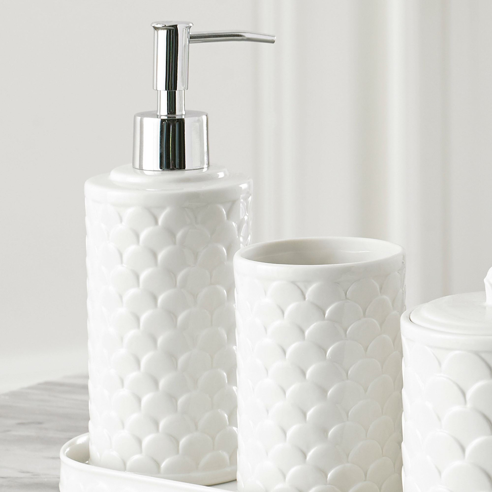 White Bath Accessories - unique wastebasket tissue holder luxury ...
