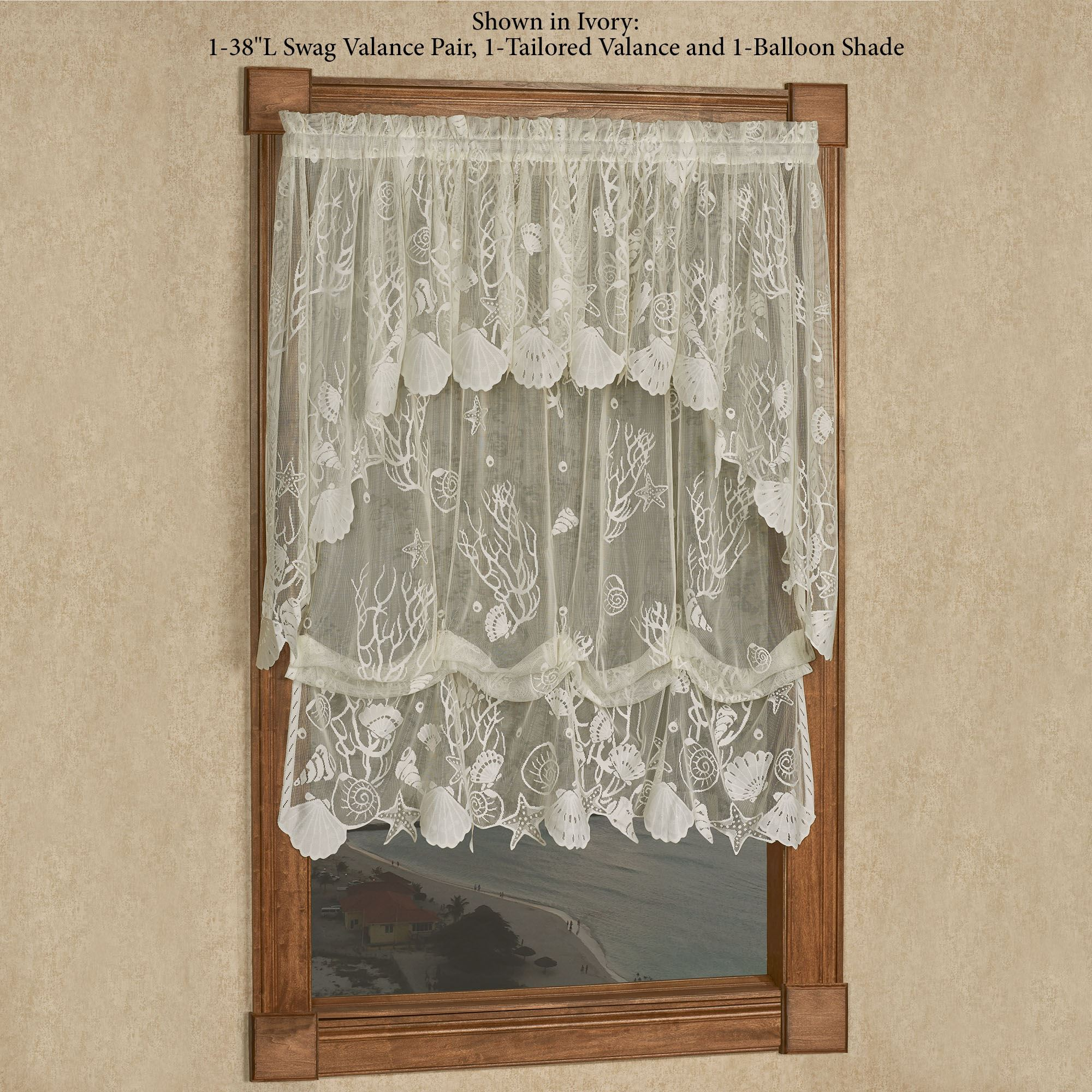 Sea Treasures Coastal Lace Balloon Shade Window Treatment