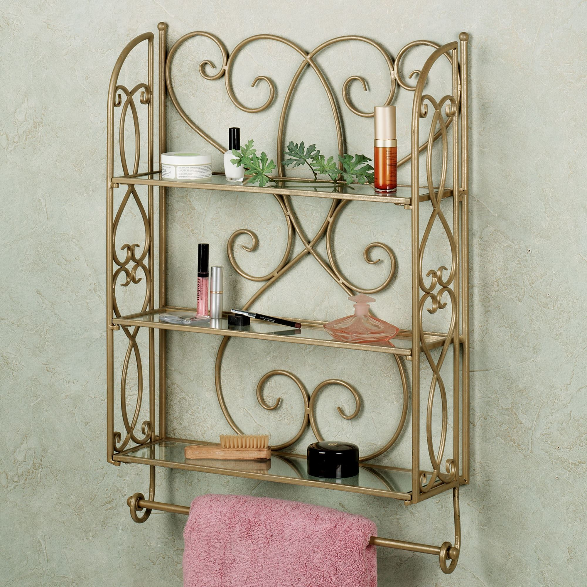 Gianna Wall Shelf with Towel Bar. Touch to zoom
