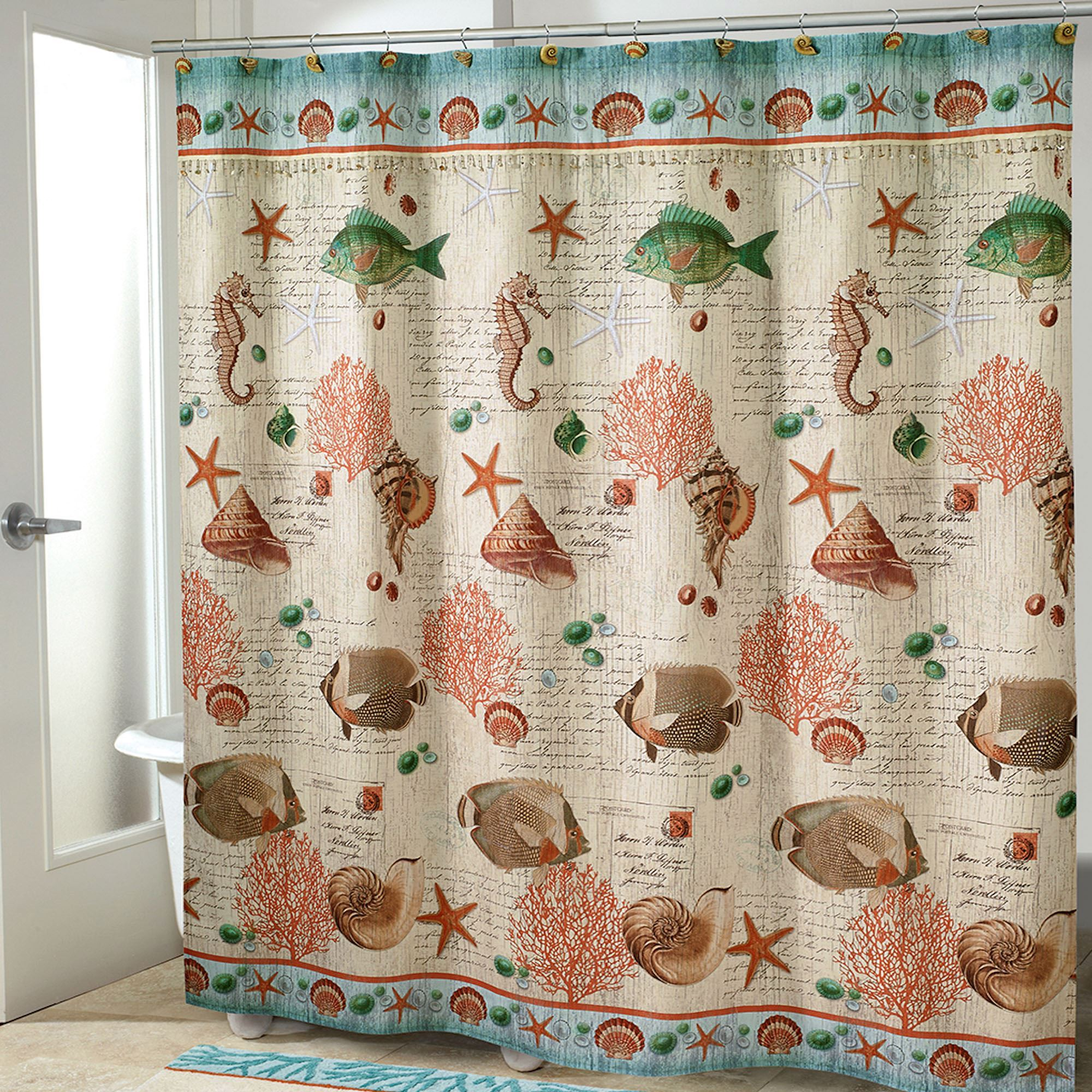 Seaside Vintage Shower Curtain Cream 72 X Touch To Zoom