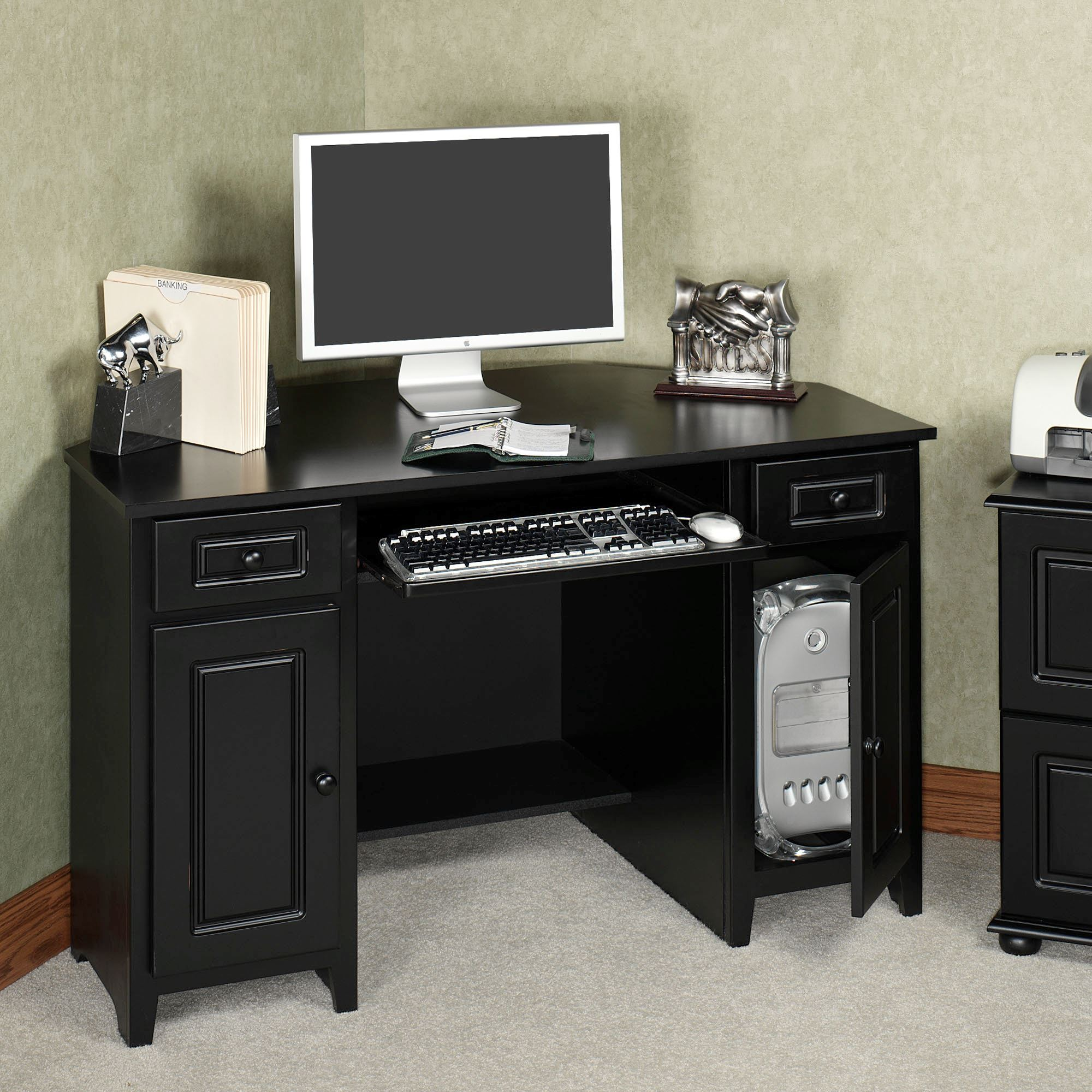 Auston Black Corner Desk