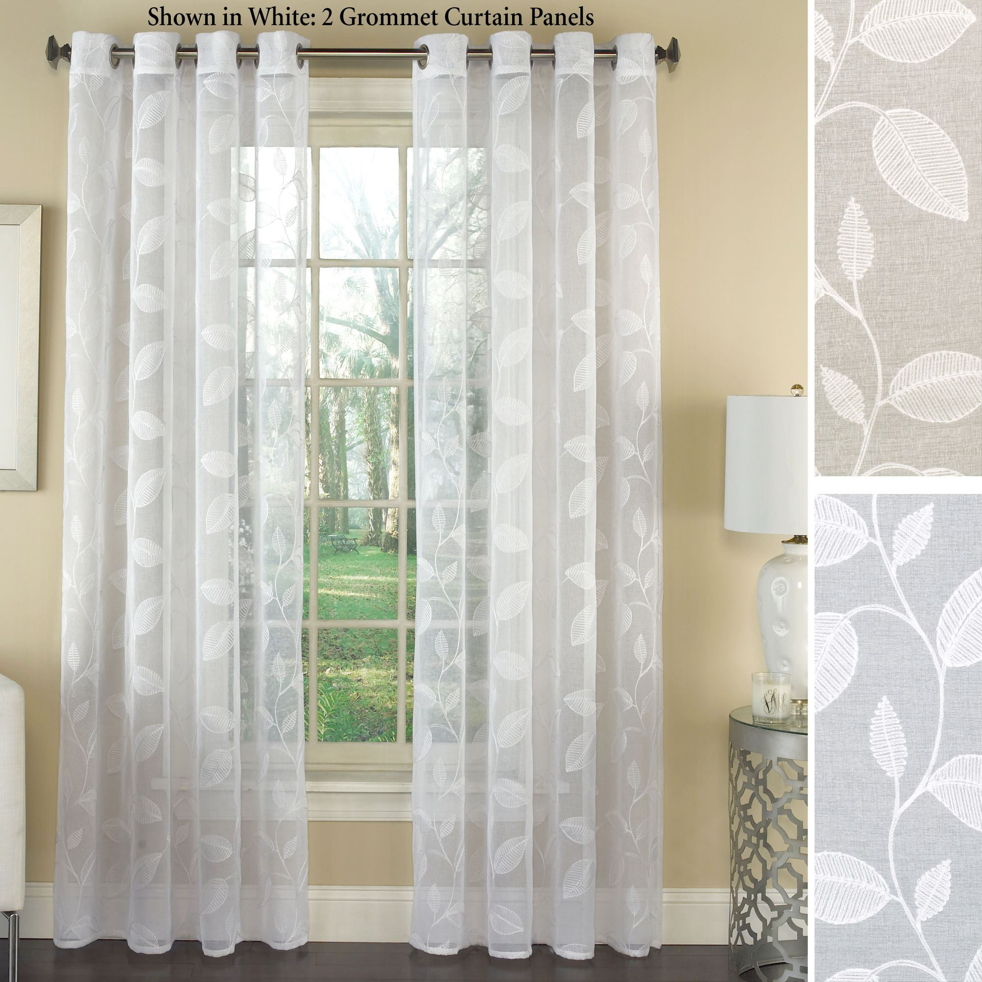Avery semi sheer embroidered grommet curtain panels for Grommet curtains with sheers