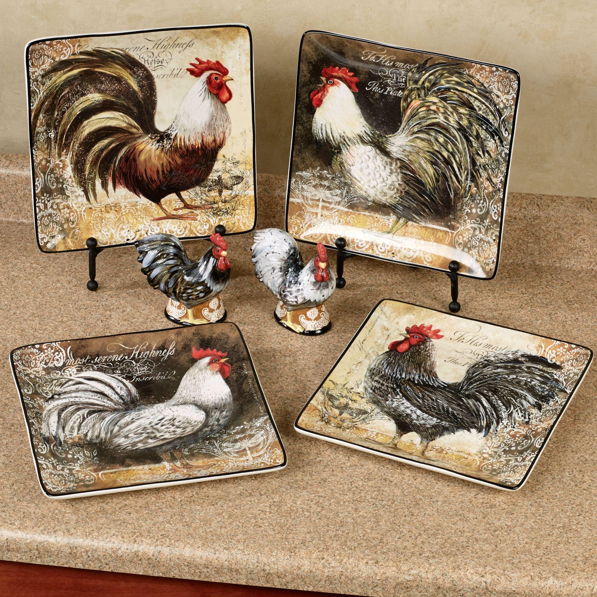 Vintage Rooster Dinner Plates Multi Earth Set of Four & Vintage Rooster Dinner Plate Set