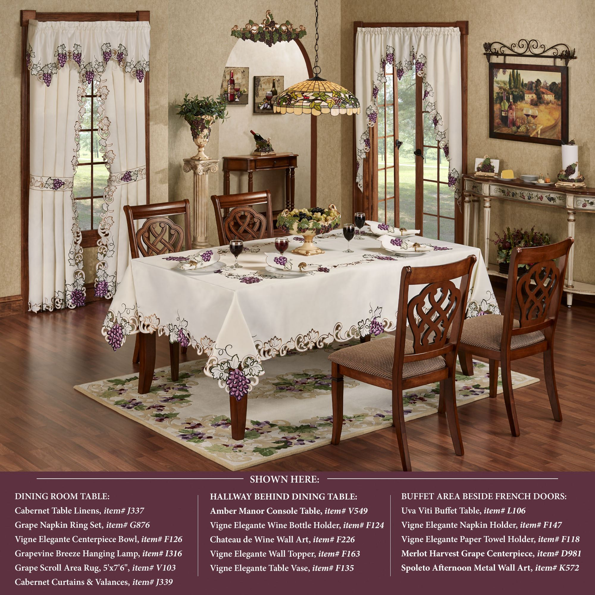 Cabernet Grape Themed Embroidered Table Linens