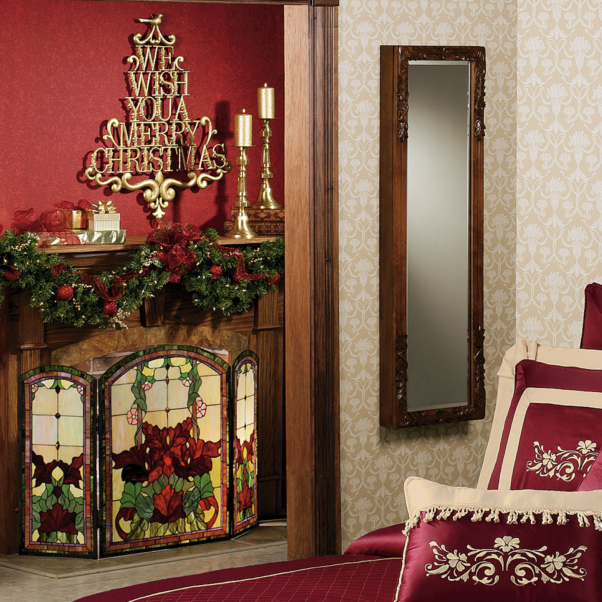 Christmas Fireplace Screen.Yvette Decorative Floral Stained Glass Fireplace Screen
