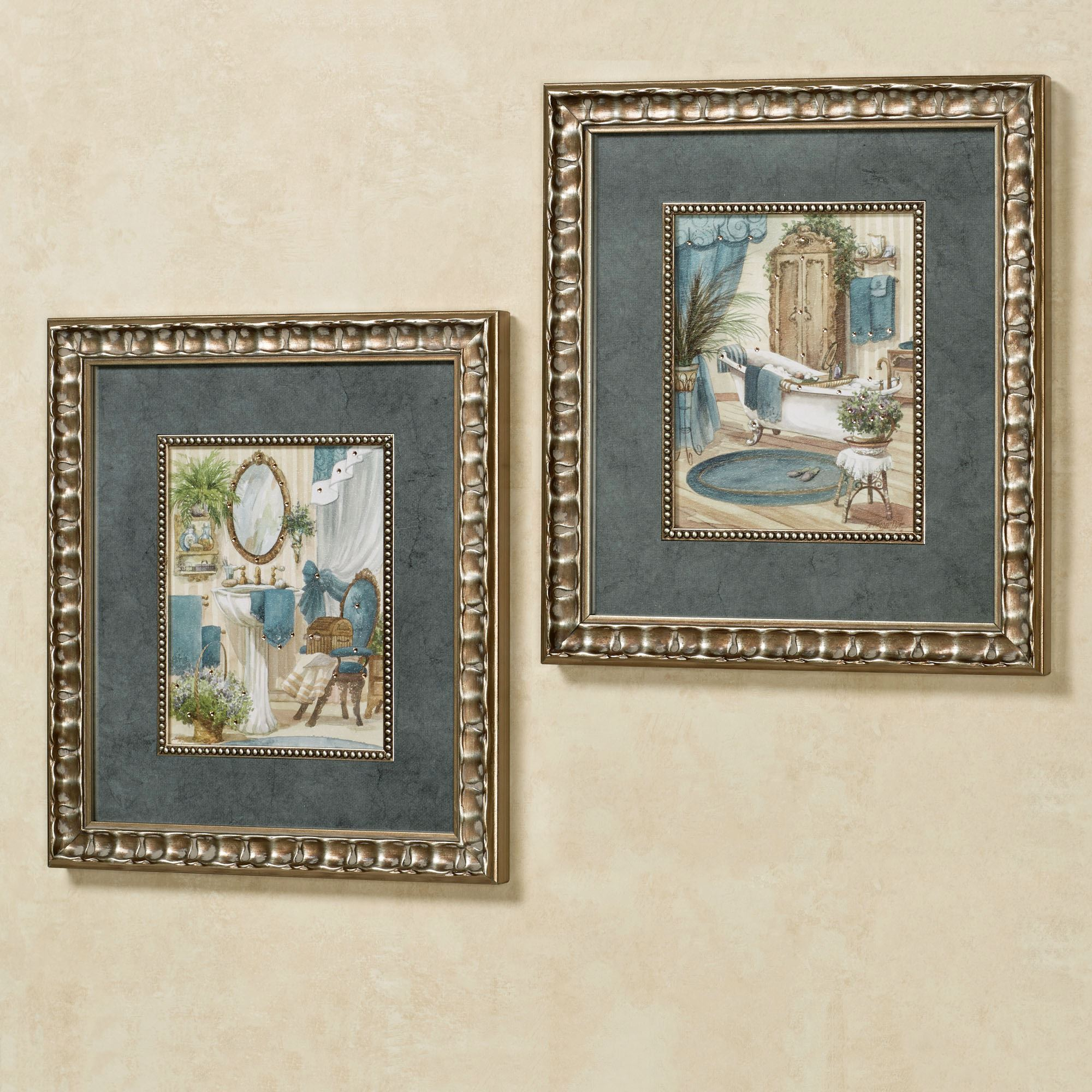 lovely Bath Wall Art Part - 4: Victorian Bath Framed Wall Art Multi Cool Set of Two