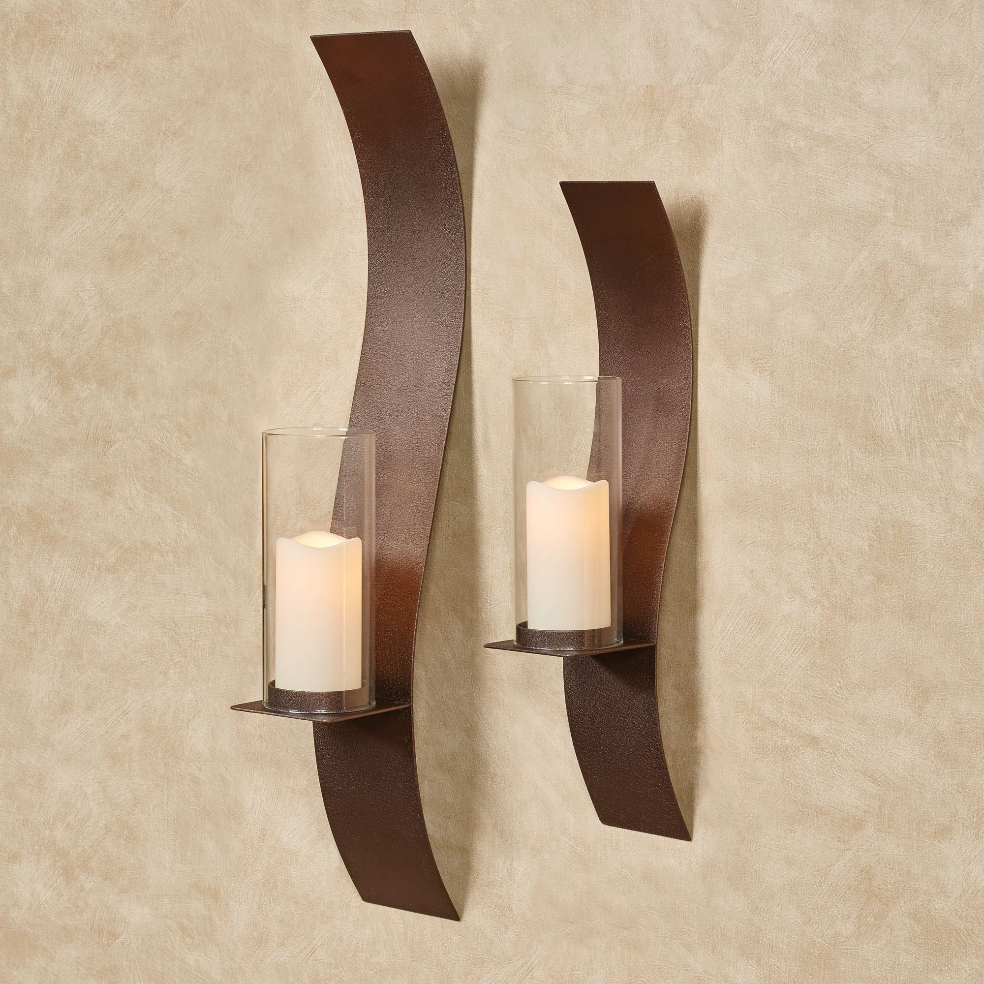 Wall sconces wall candleholders and wall candelabras touch of sinuous wall sconces rich bronze set of two amipublicfo Images